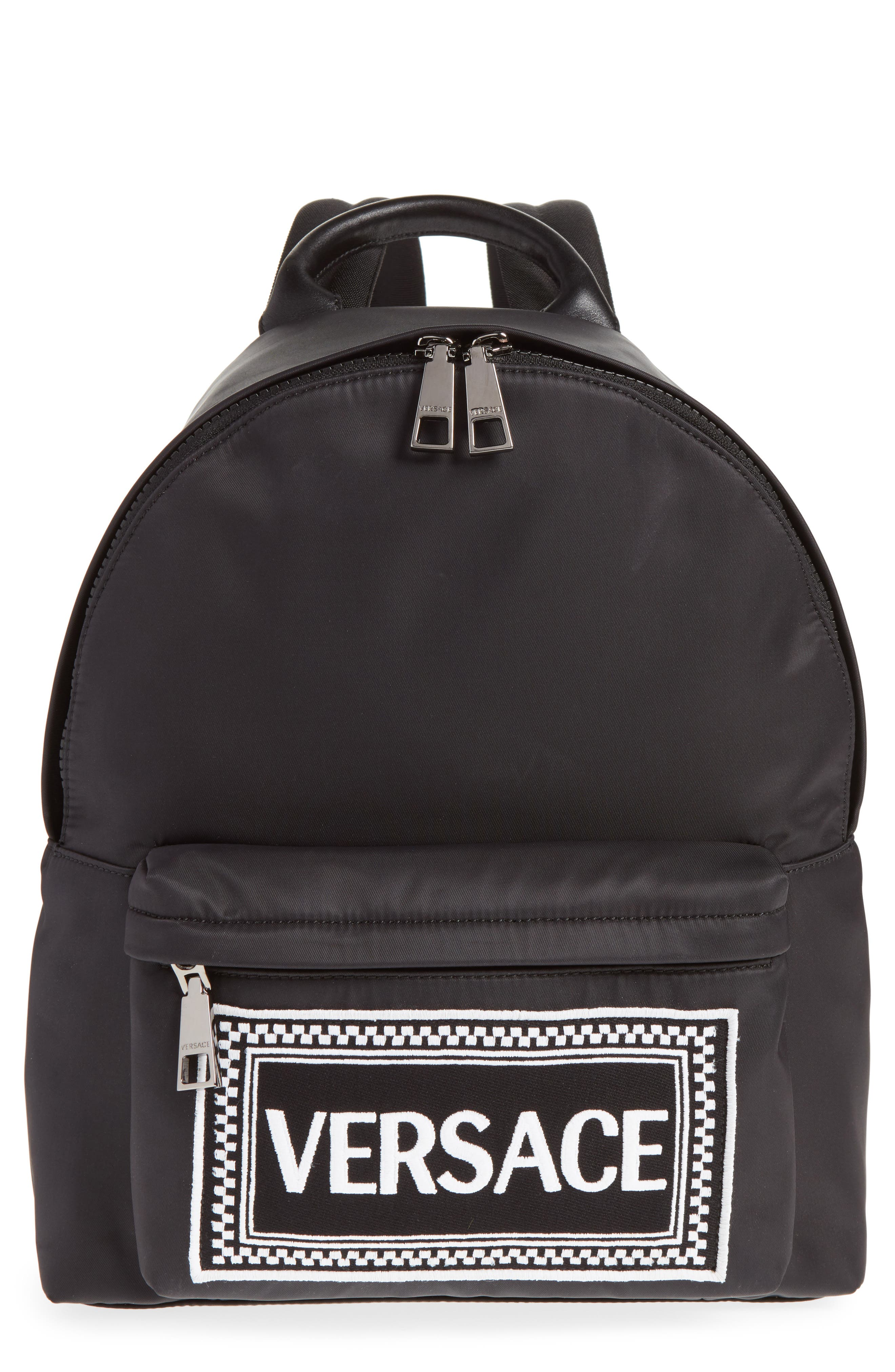 VERSACE,                             Logo Graphic Leather Backpack,                             Main thumbnail 1, color,                             YSNNC BLACK