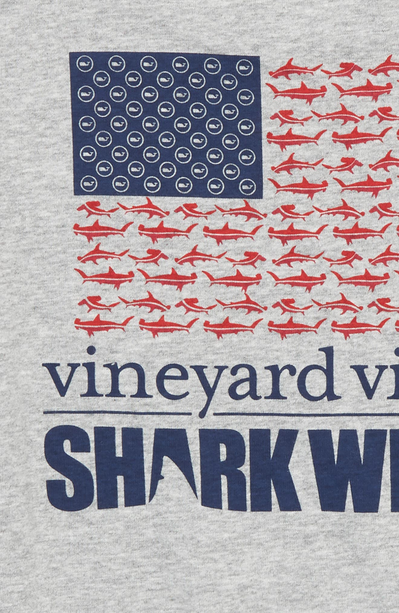x Shark Week<sup>™</sup> Sharks & Stripes Pocket T-Shirt,                             Alternate thumbnail 3, color,                             GRAY HEATHER