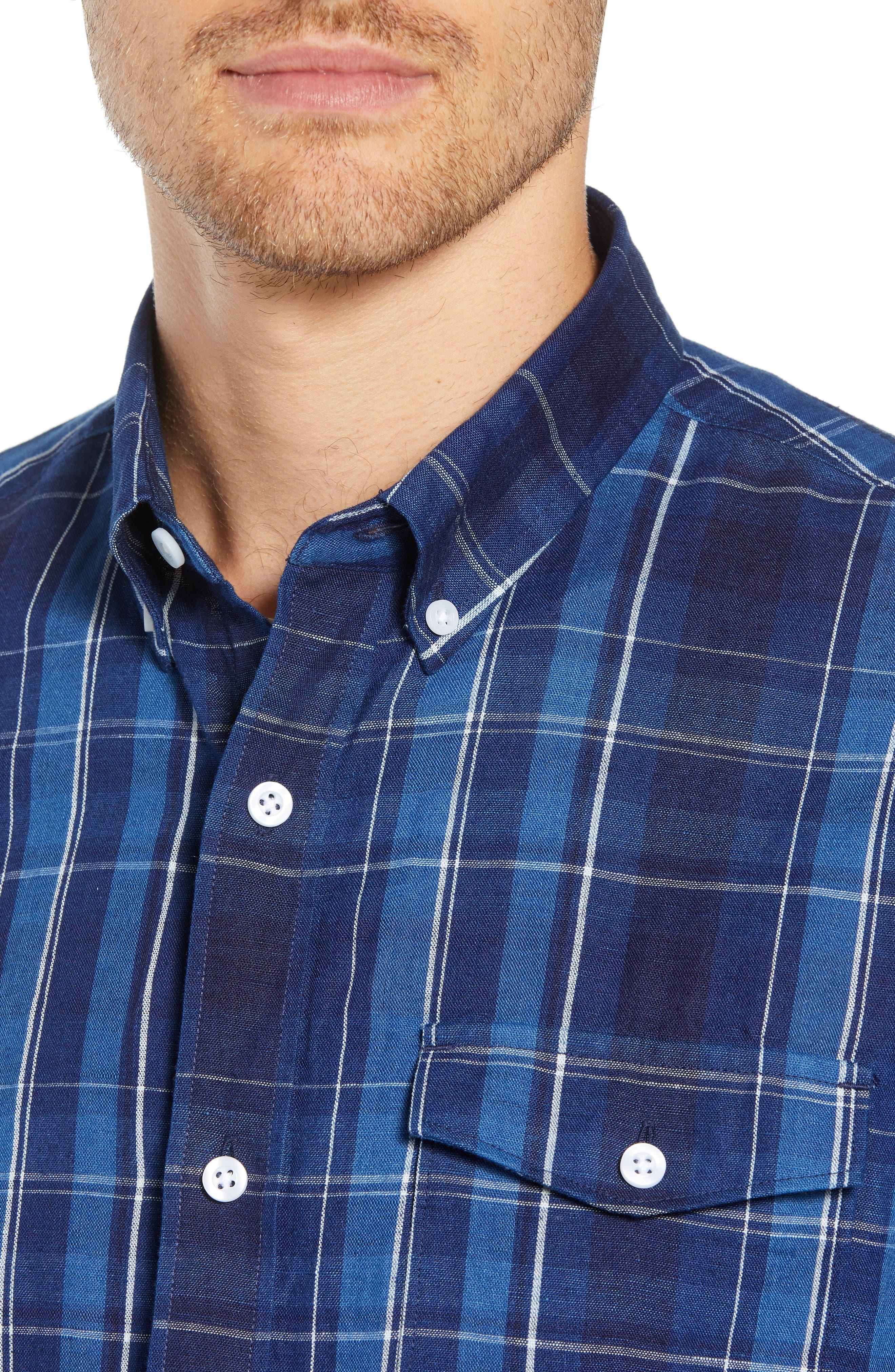 Ivy Trim Fit Plaid Cotton & Linen Sport Shirt,                             Alternate thumbnail 4, color,                             410