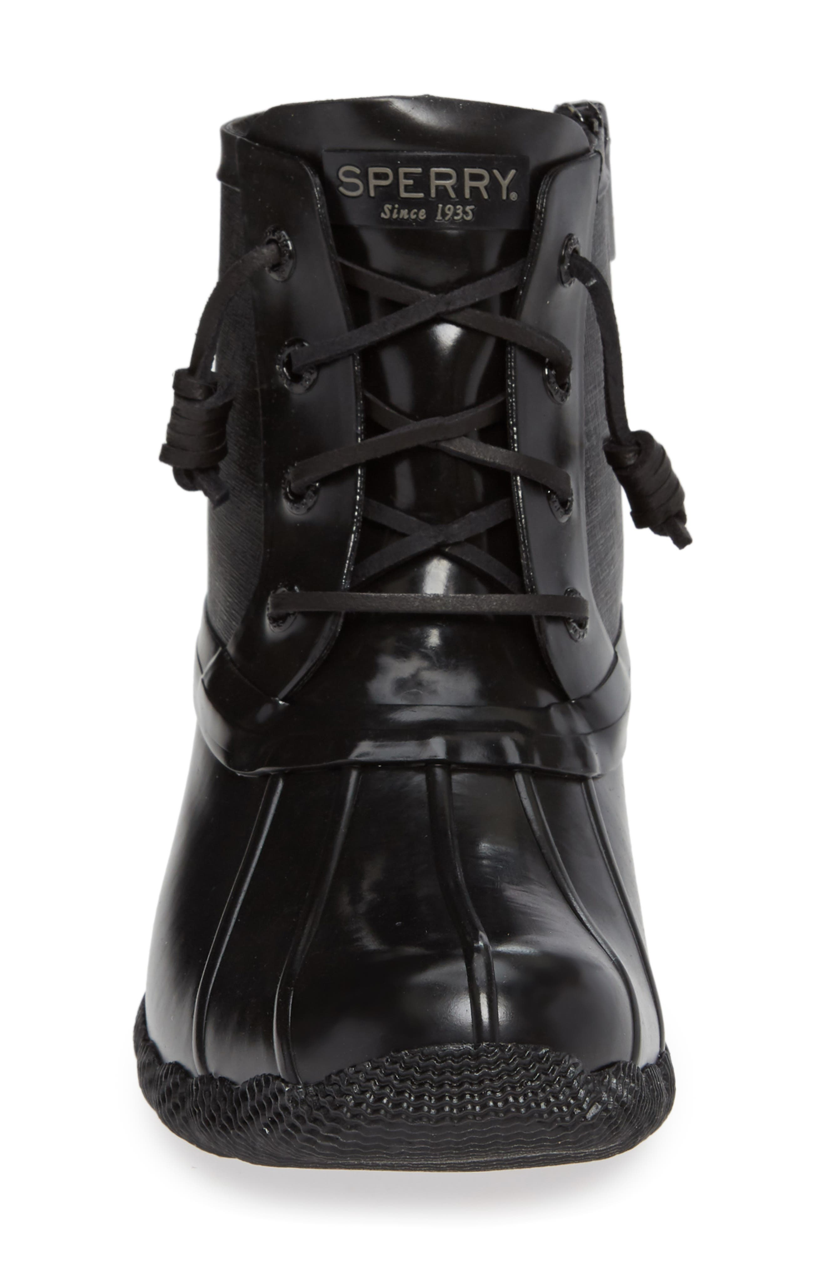 Flooded Rubber Saltwater Bootie,                             Alternate thumbnail 4, color,                             BLACK