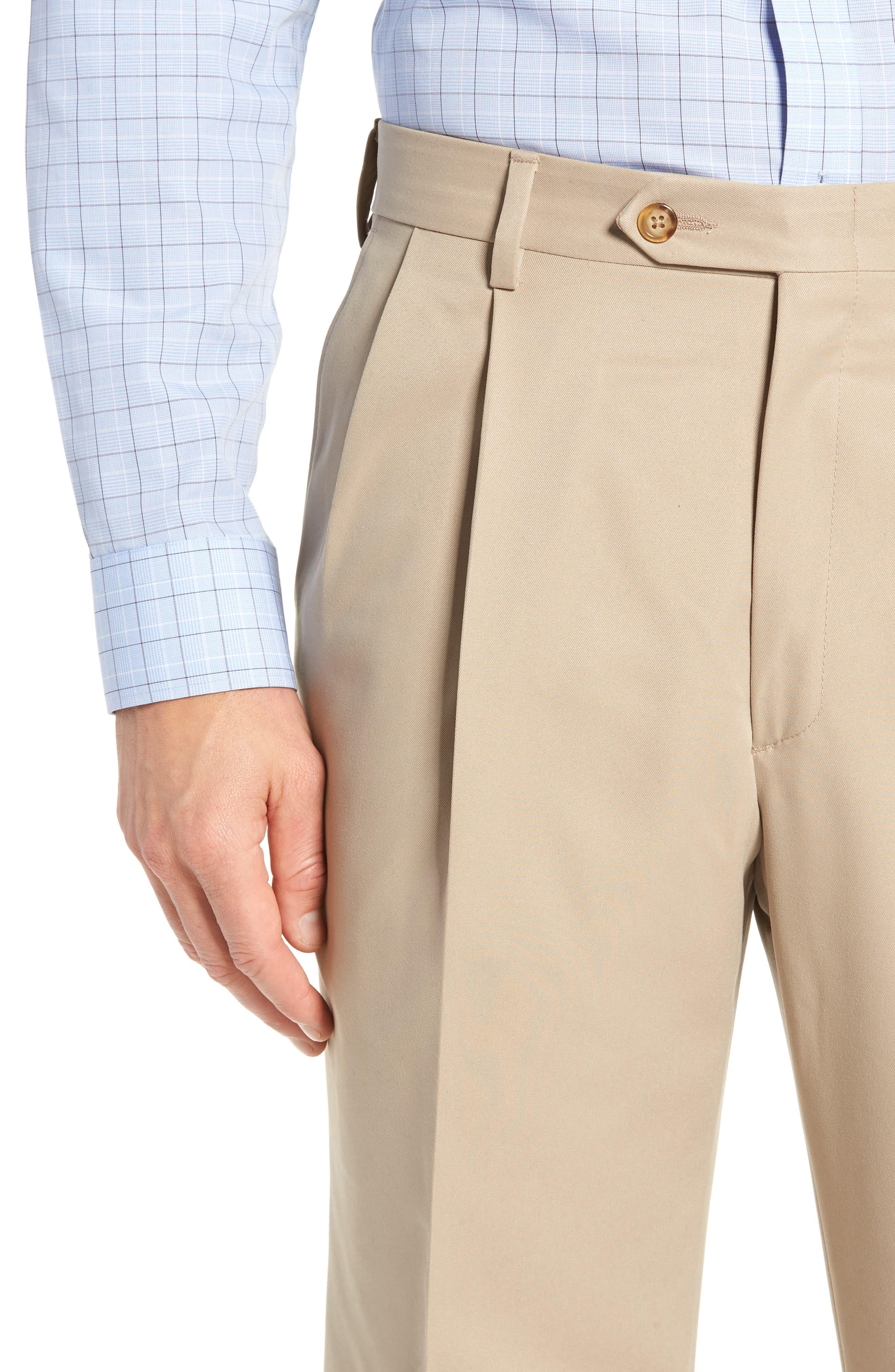 Classic Fit Pleated Microfiber Performance Trousers,                             Alternate thumbnail 4, color,                             TAN