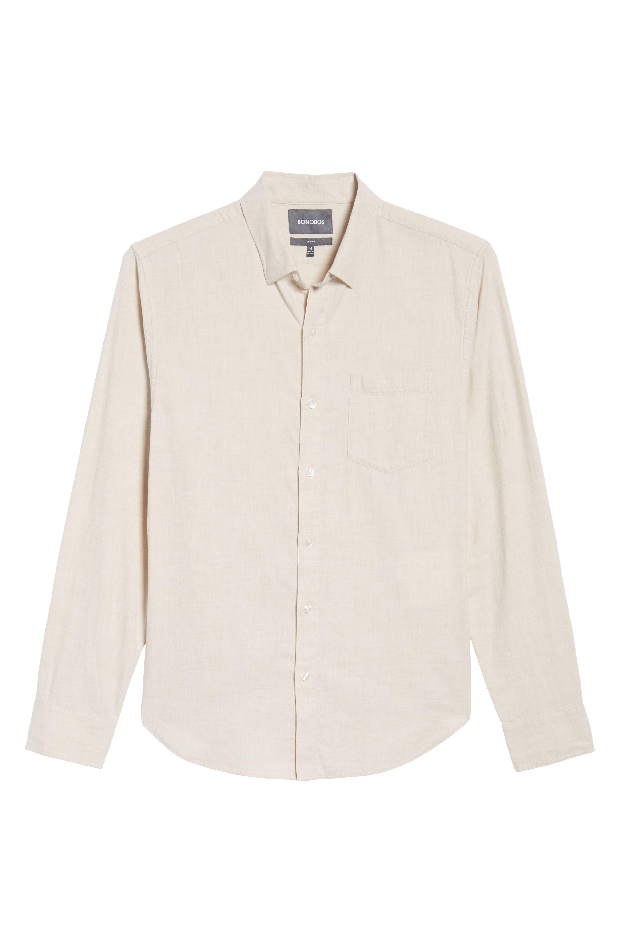 Slim Fit Brushed Twill Sport Shirt,                             Alternate thumbnail 6, color,