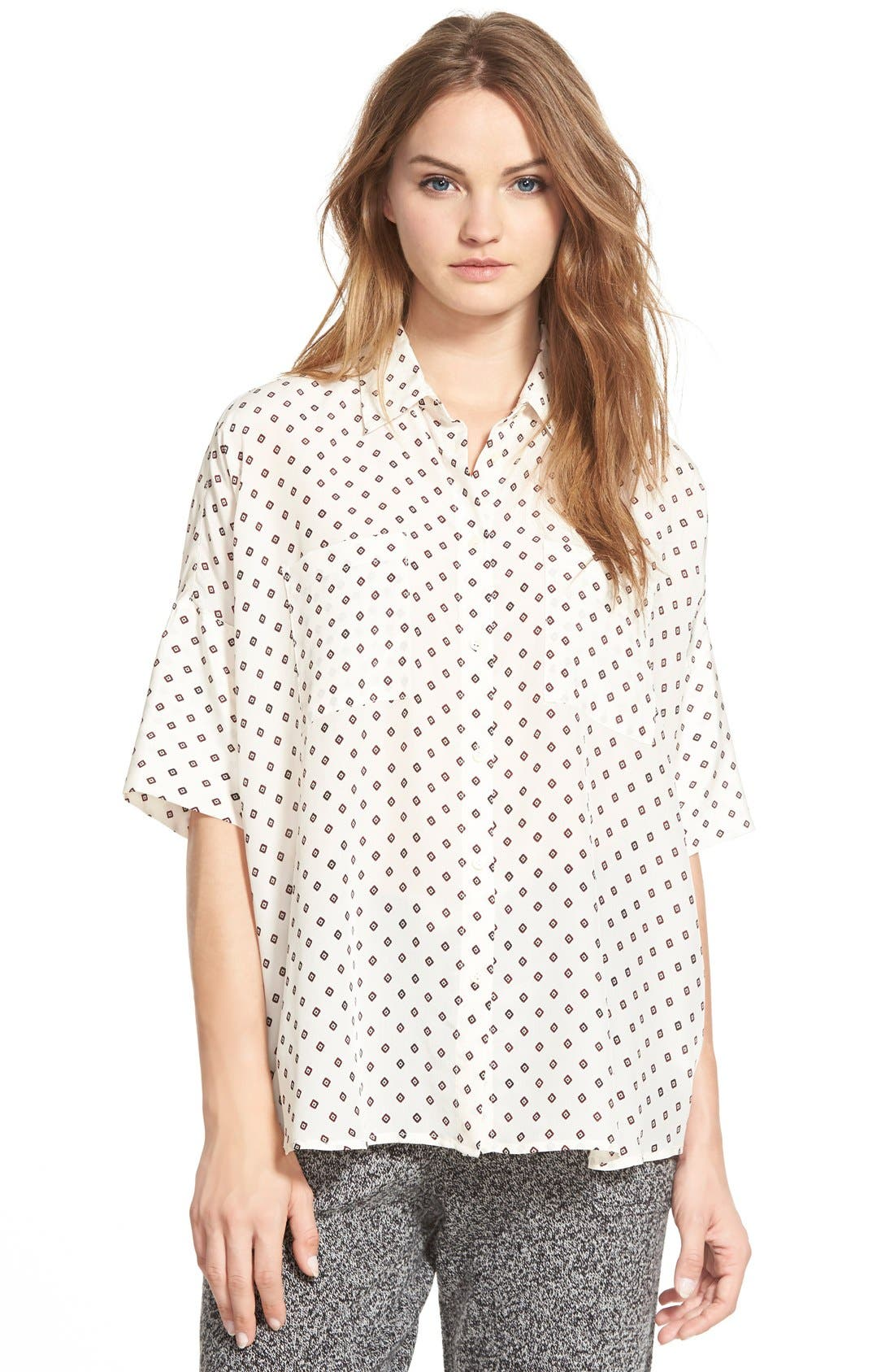 MADEWELL,                             'Foulard Dot' Silk Courier Shirt,                             Main thumbnail 1, color,                             900