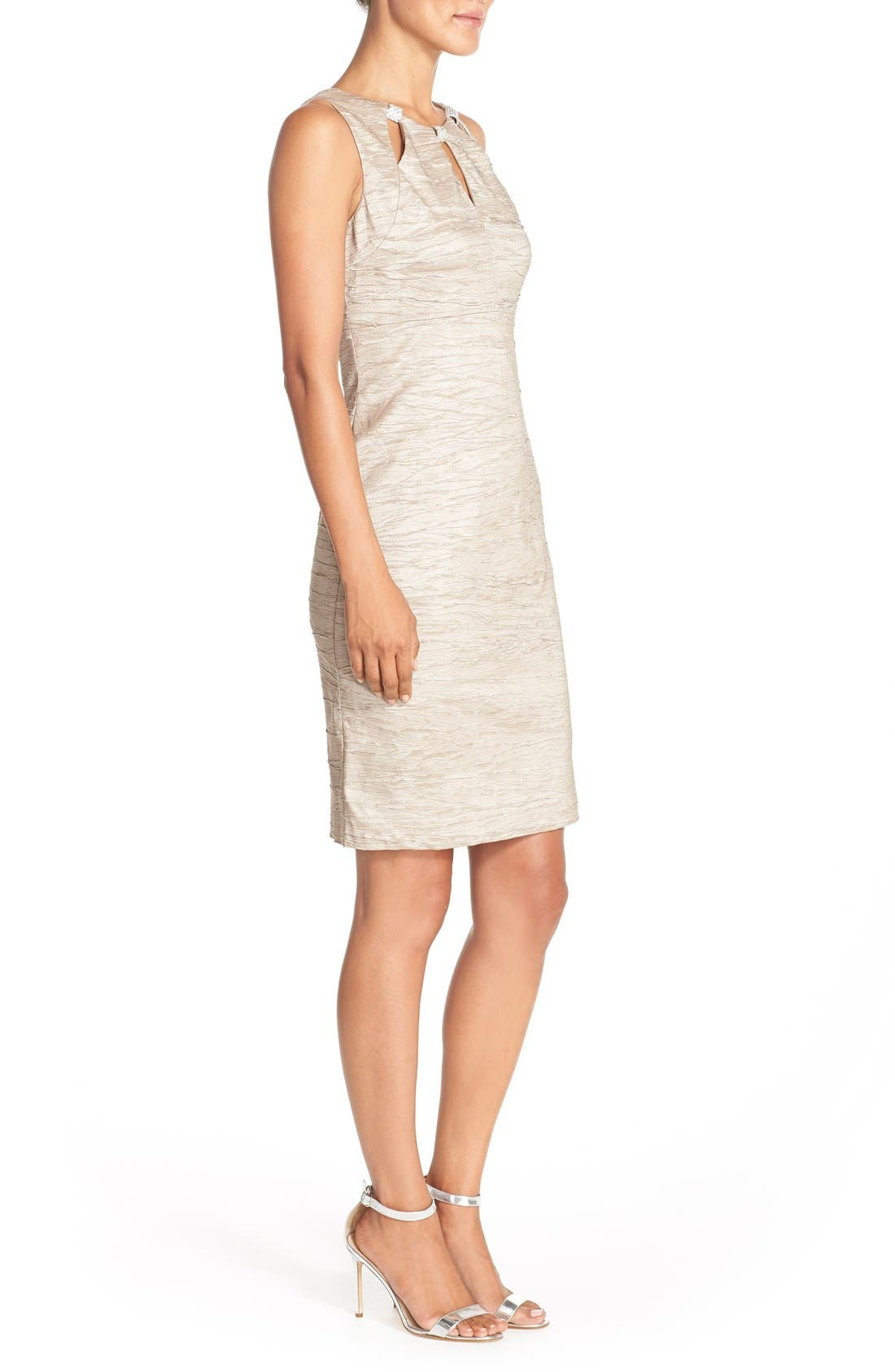 Embellished Cutout Taffeta Sheath Dress,                             Alternate thumbnail 6, color,                             CHAMPAGNE