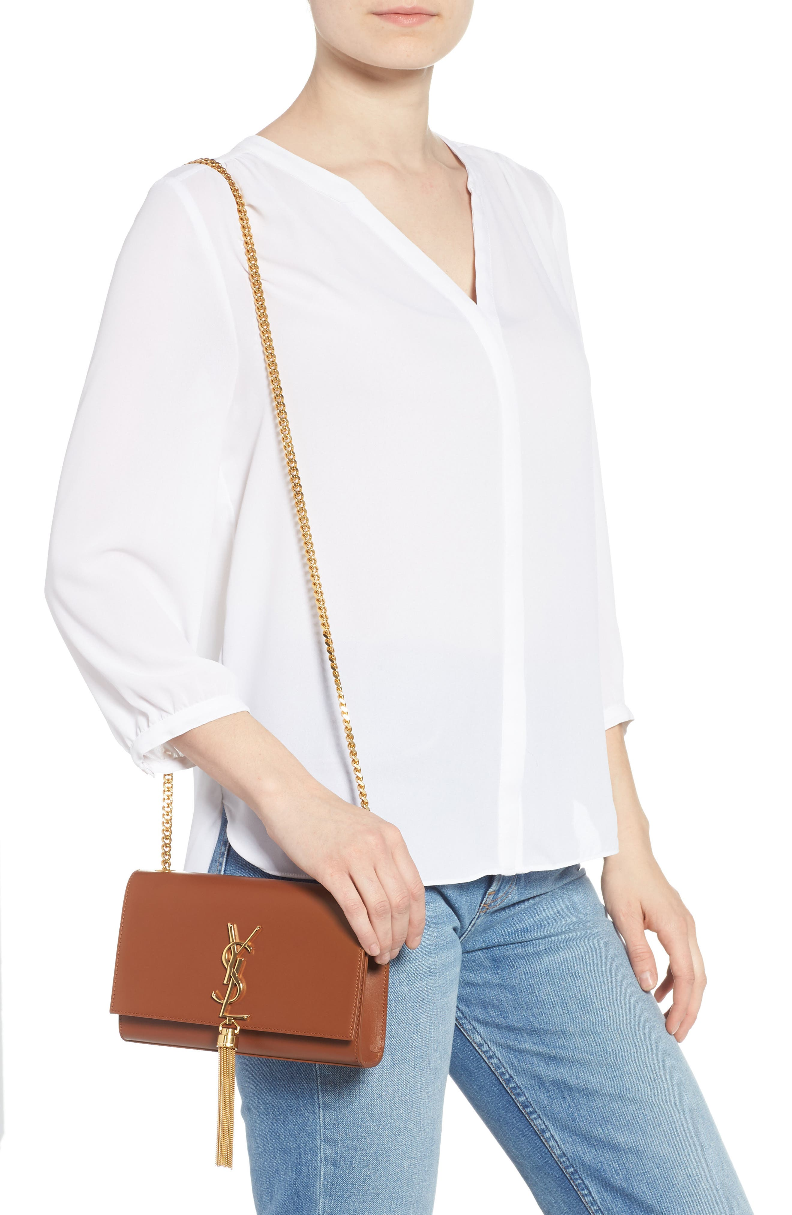 Kate Tassel Calfskin Leather Shoulder Bag,                             Alternate thumbnail 3, color,                             FAUVE