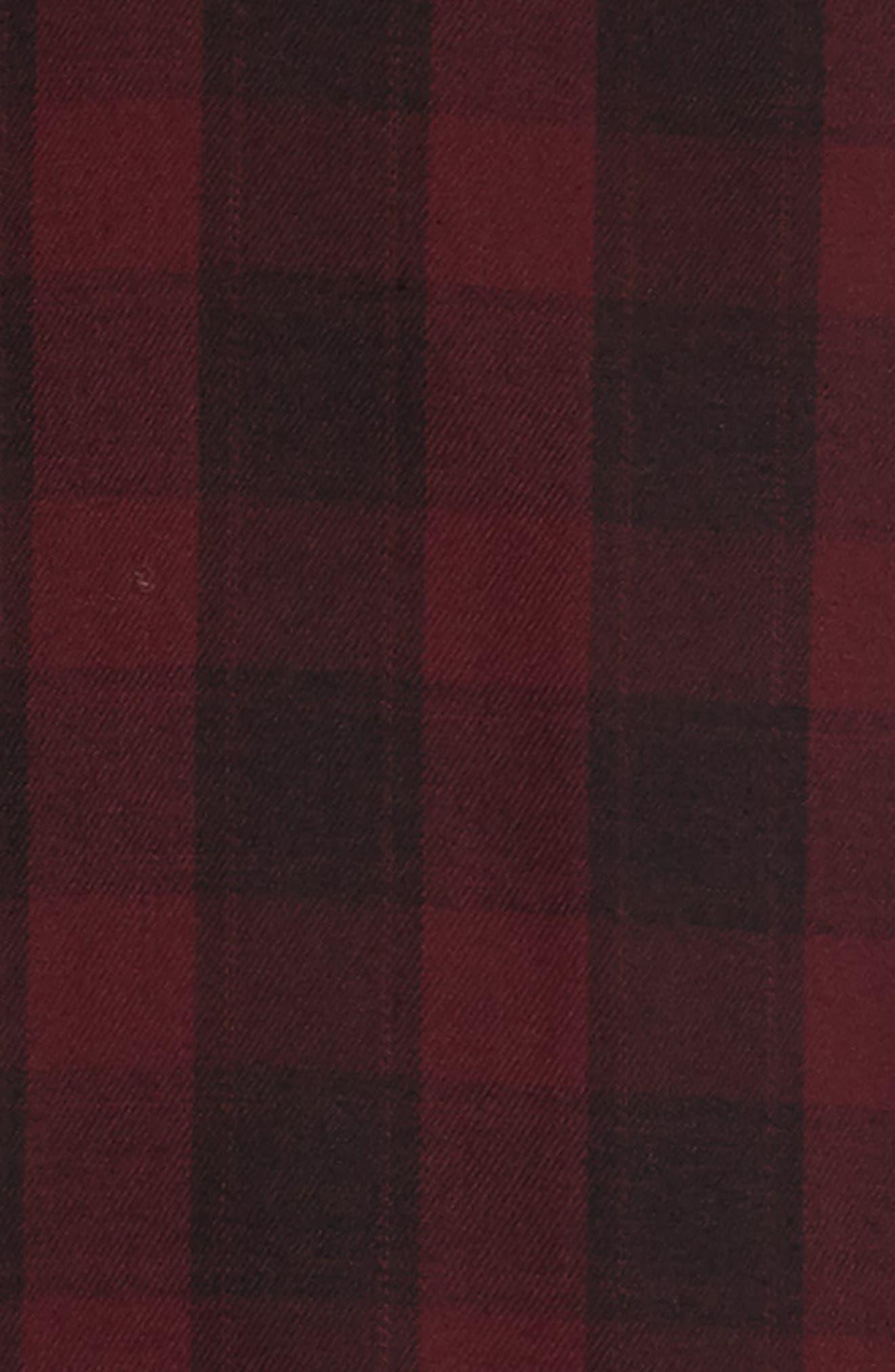 Slim Fit Mini Collar Check Flannel Sport Shirt,                             Alternate thumbnail 6, color,                             930