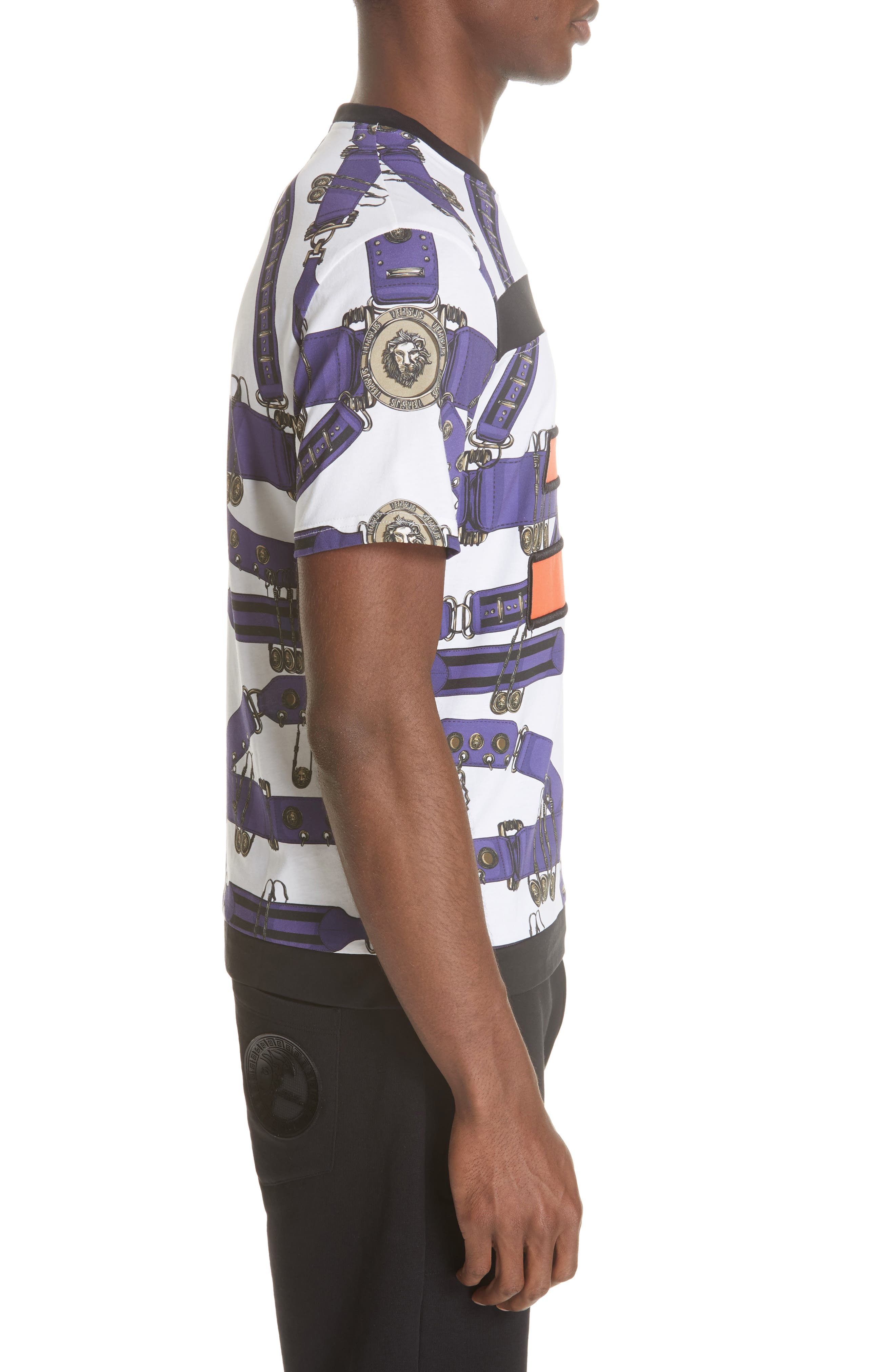 Safety Pin Harness T-Shirt,                             Alternate thumbnail 3, color,                             PURPLE AND WHITE
