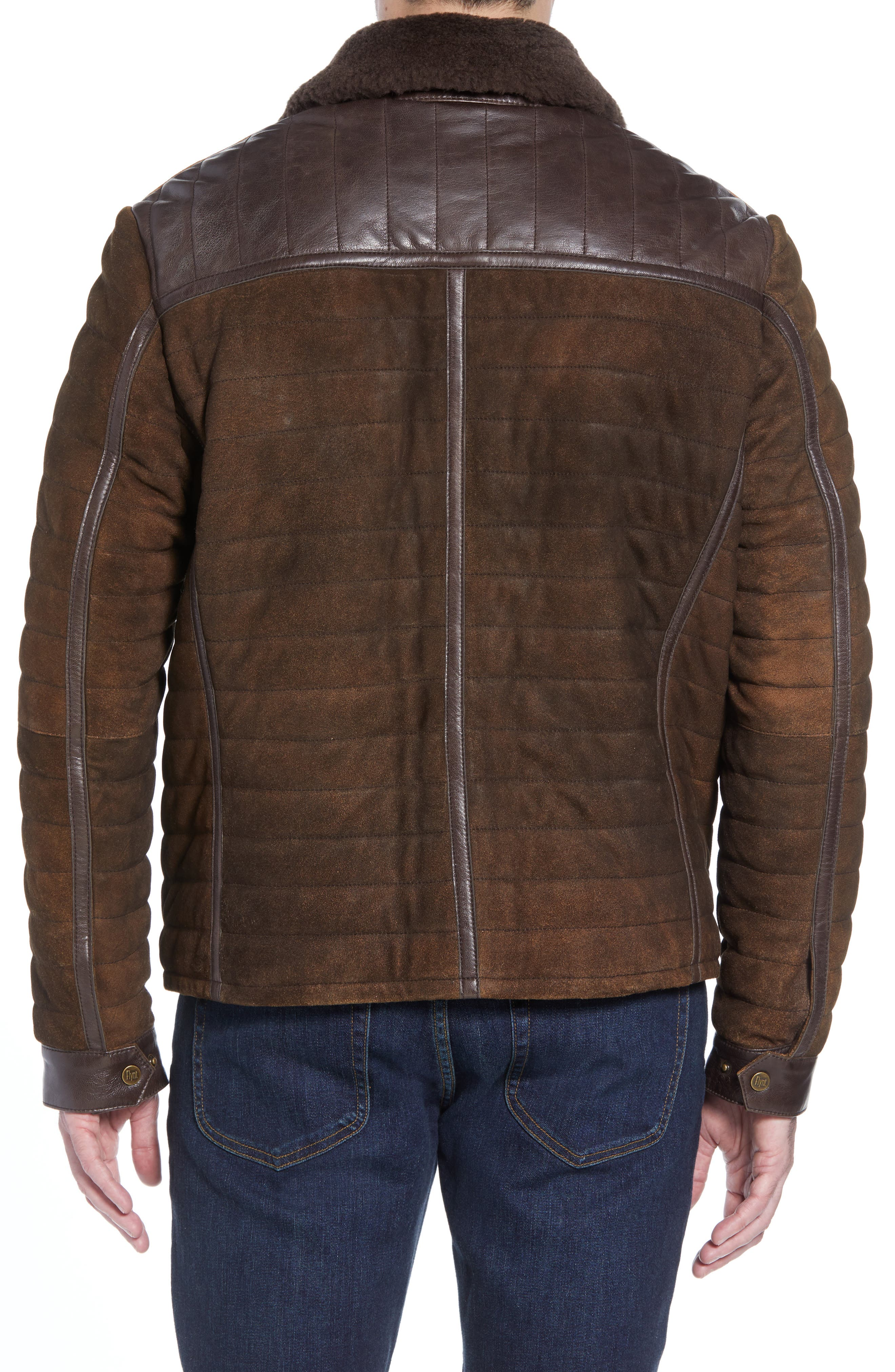 Genuine Shearling Trim Leather Bomber Jacket,                             Alternate thumbnail 2, color,                             201