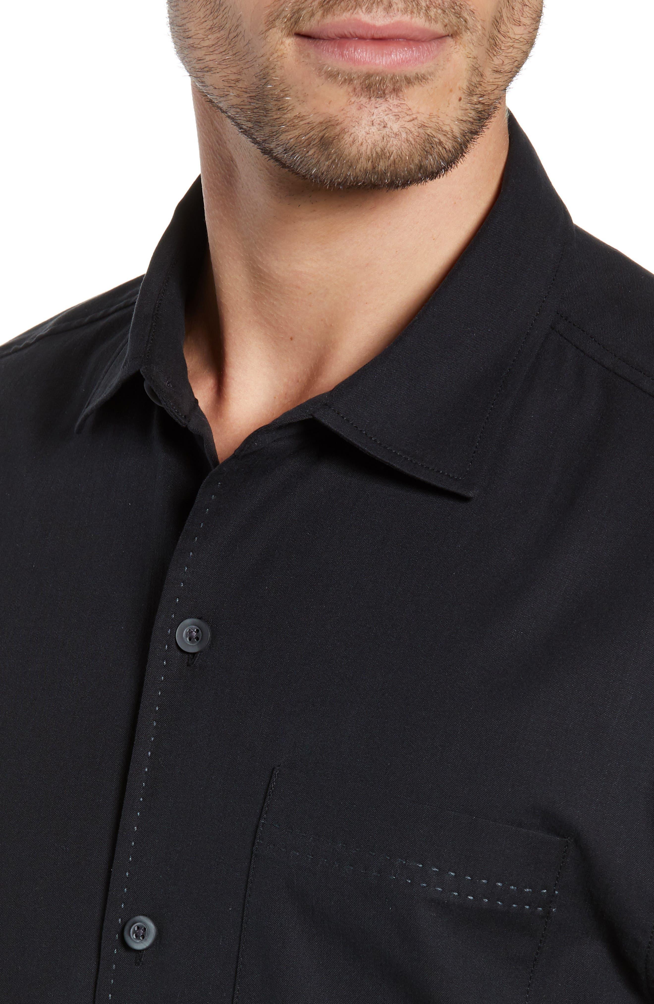 Catalina Stretch Silk Blend Camp Shirt,                             Alternate thumbnail 2, color,                             BLACK