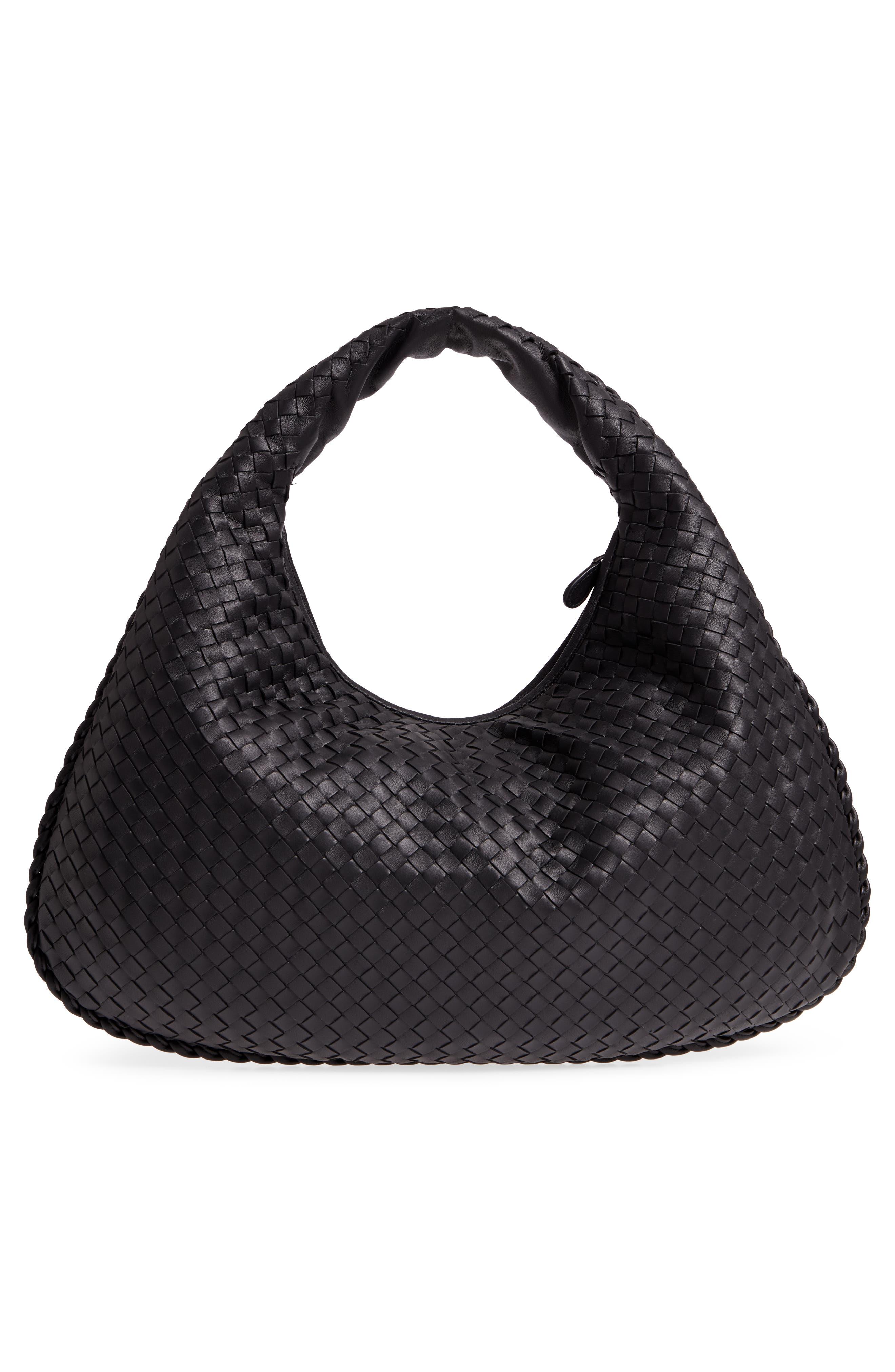 Large Veneta Leather Hobo,                             Alternate thumbnail 3, color,                             8175 NERO