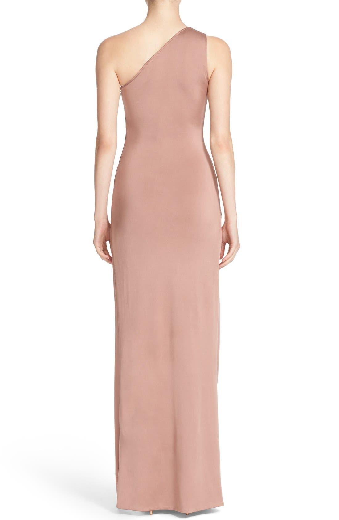 One-Shoulder Twist Gown,                             Alternate thumbnail 3, color,                             DUNE