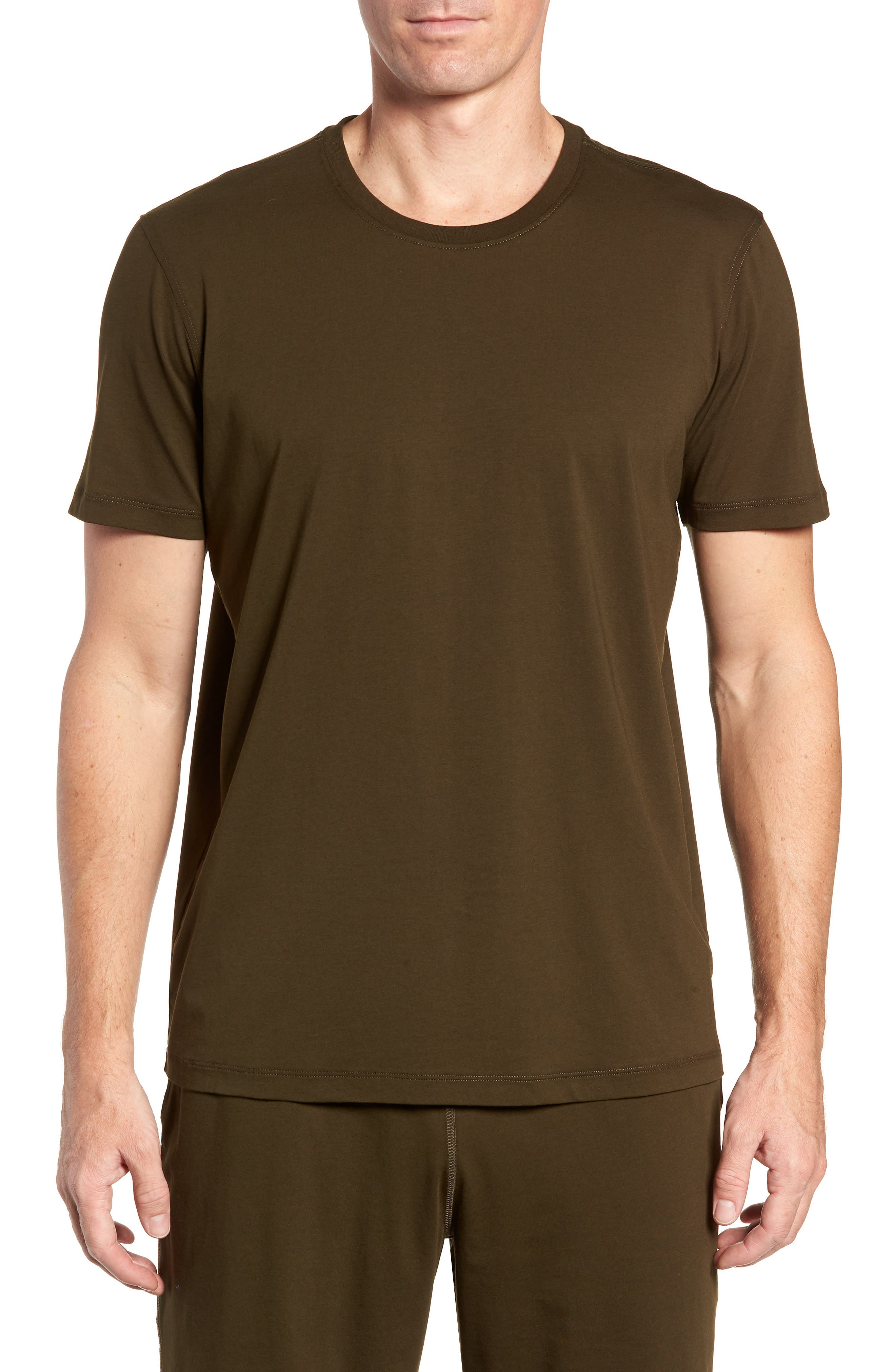Stretch Cotton & Modal Crewneck T-Shirt,                         Main,                         color, ARMY