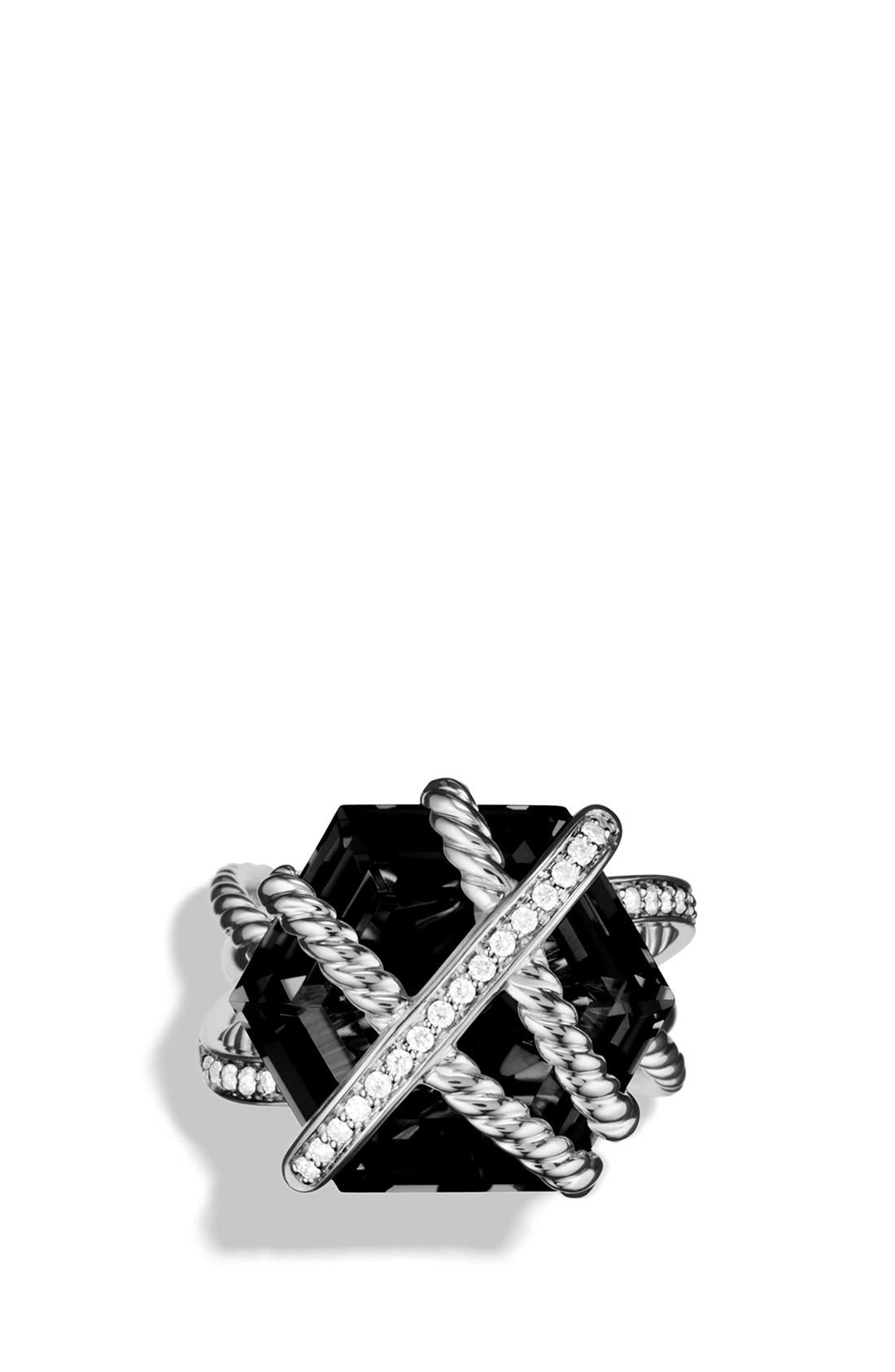 DAVID YURMAN,                             'Cable Wrap' Ring with Black Onyx and Diamonds,                             Alternate thumbnail 4, color,                             001