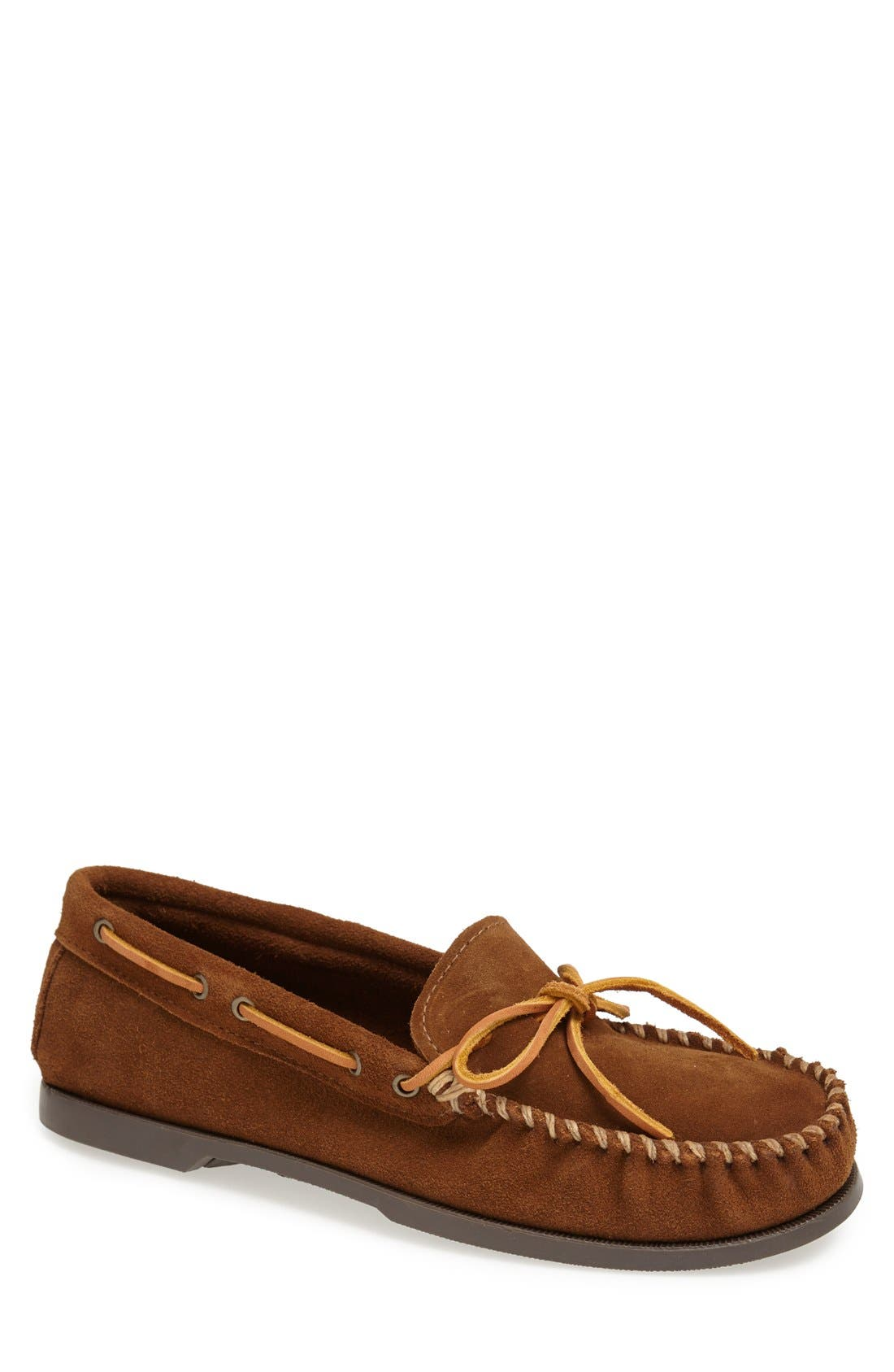 Leather Camp Moccasin,                         Main,                         color, DUSTY BROWN