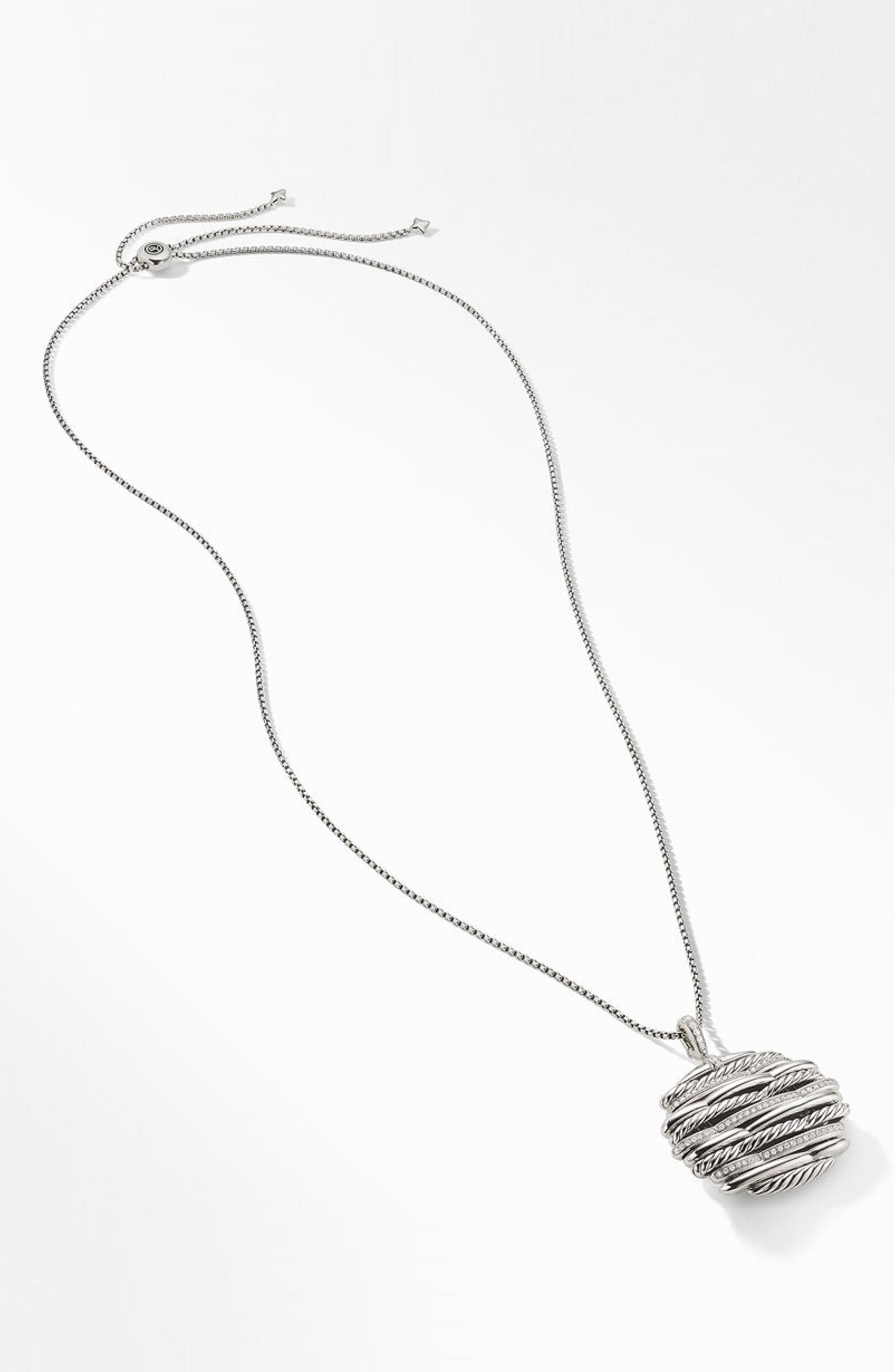 Tides Pendant Necklace with Diamonds,                             Alternate thumbnail 2, color,                             STERLING SILVER/ DIAMOND