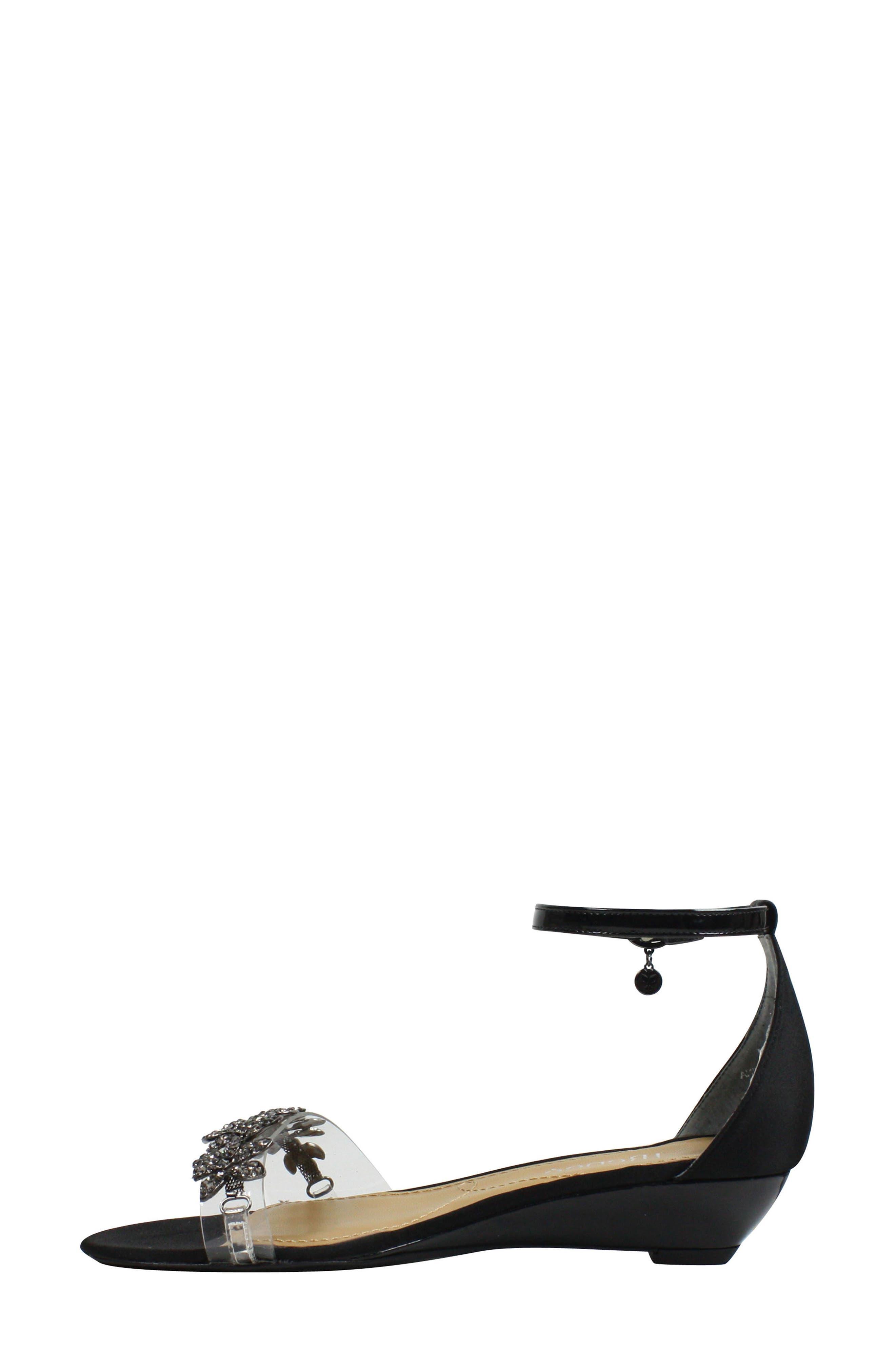 Evania Ankle Strap Sandal,                             Alternate thumbnail 7, color,                             BLACK SATIN