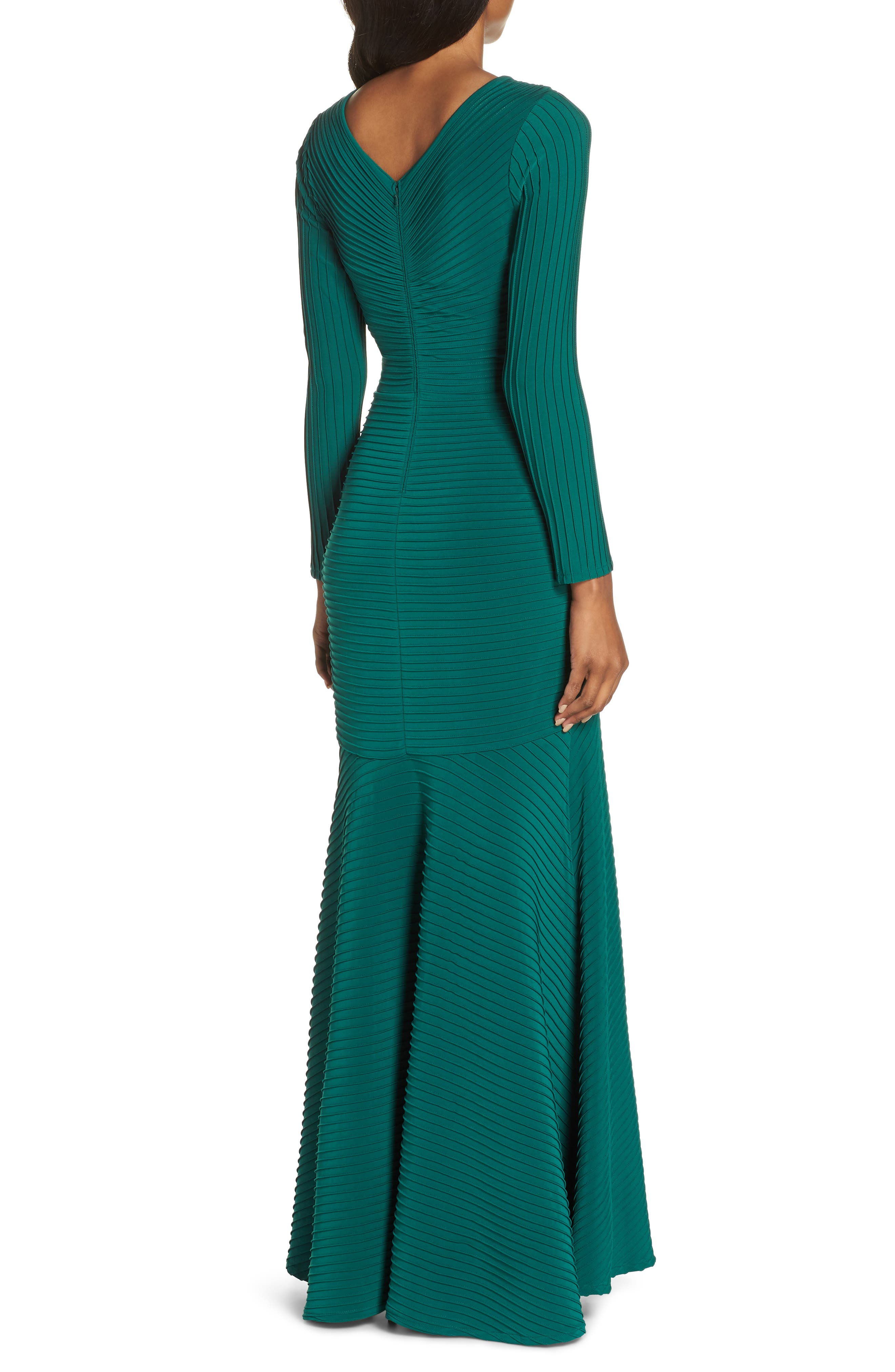 Pintuck Trumpet Gown,                             Alternate thumbnail 2, color,                             FOREST