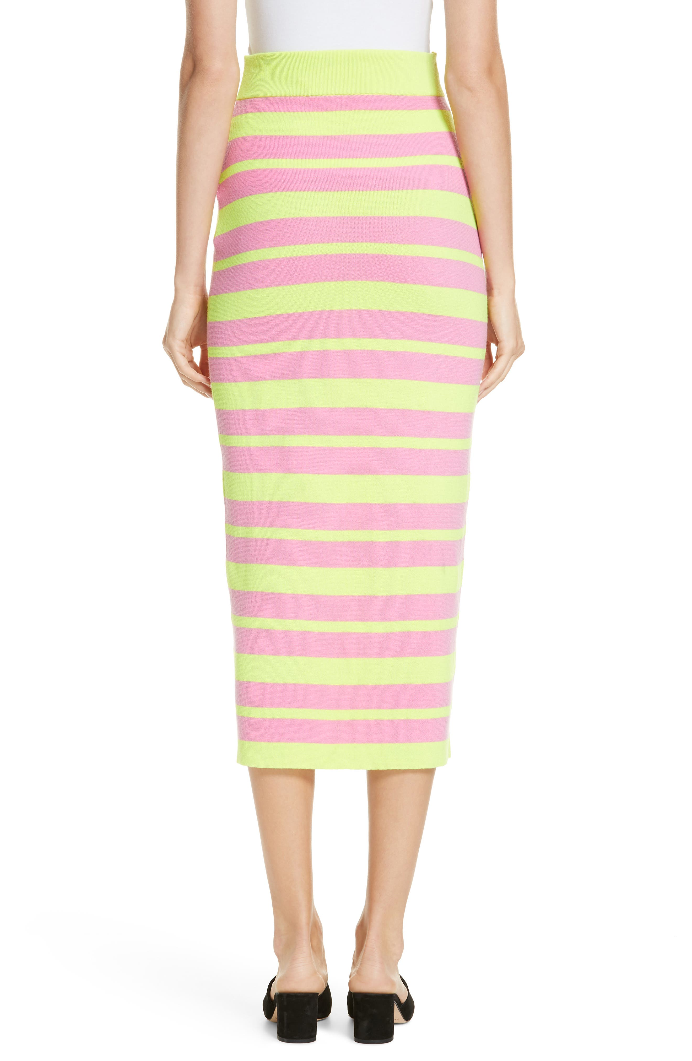 Stripe Knit Maxi Skirt,                             Alternate thumbnail 2, color,                             LIME AND PINK COMBO