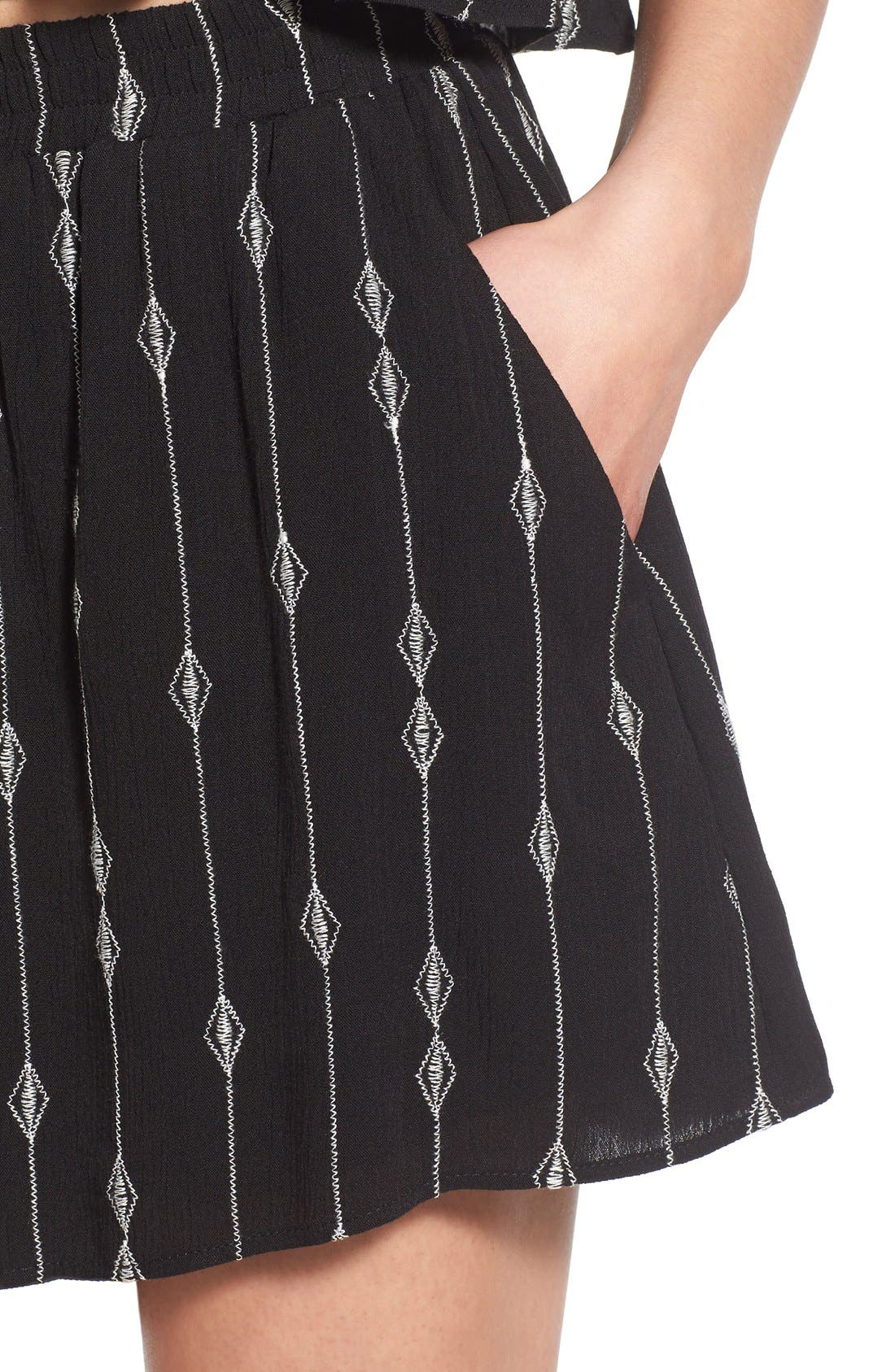 Embroidered Woven Shorts,                             Alternate thumbnail 3, color,                             001