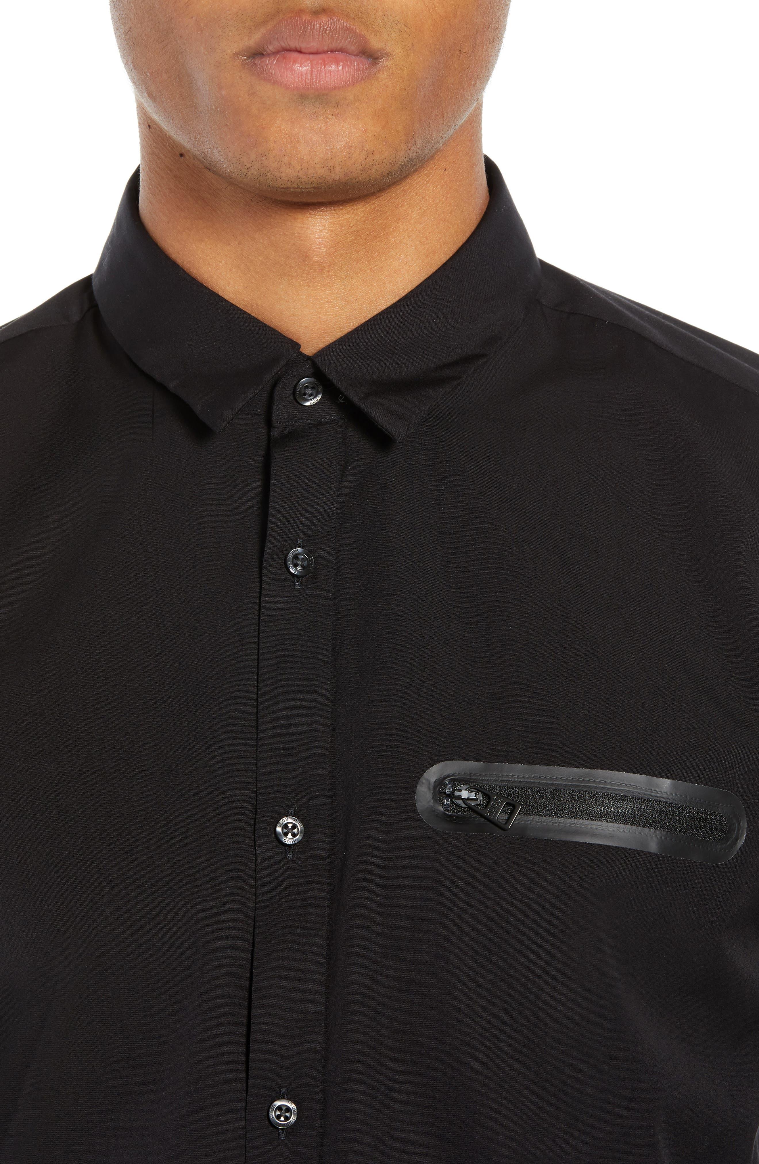 Ero Extra Slim Fit Zip Pocket Sport Shirt,                             Alternate thumbnail 2, color,                             BLACK