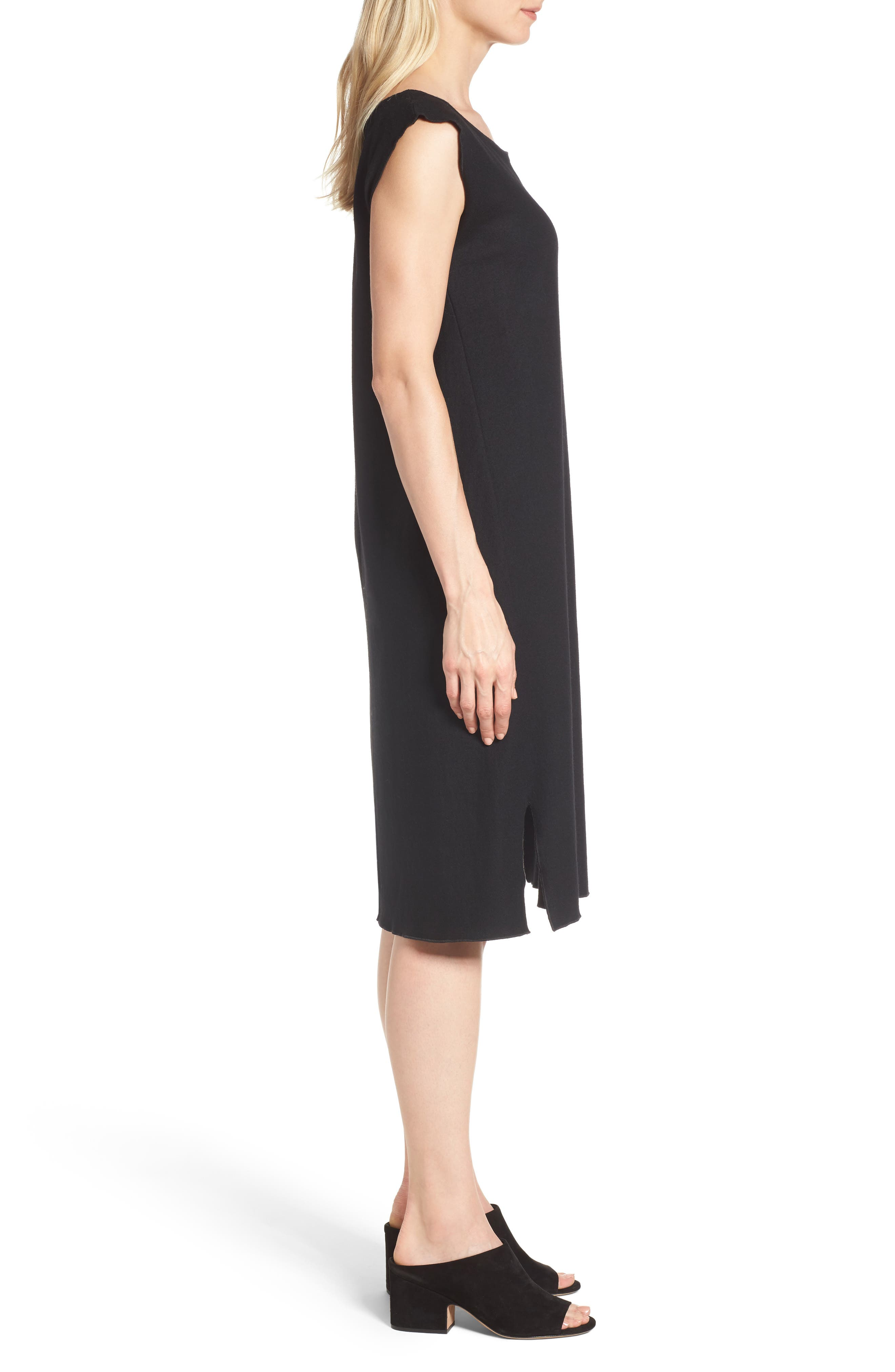 Wool Jersey Shift Dress,                             Alternate thumbnail 3, color,                             001