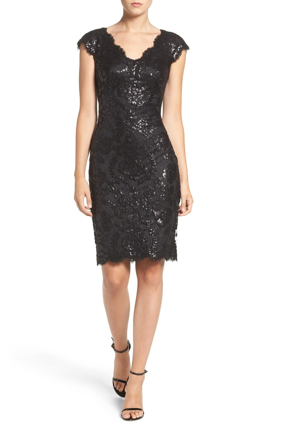 Sequin Sheath Dress,                             Alternate thumbnail 4, color,                             001