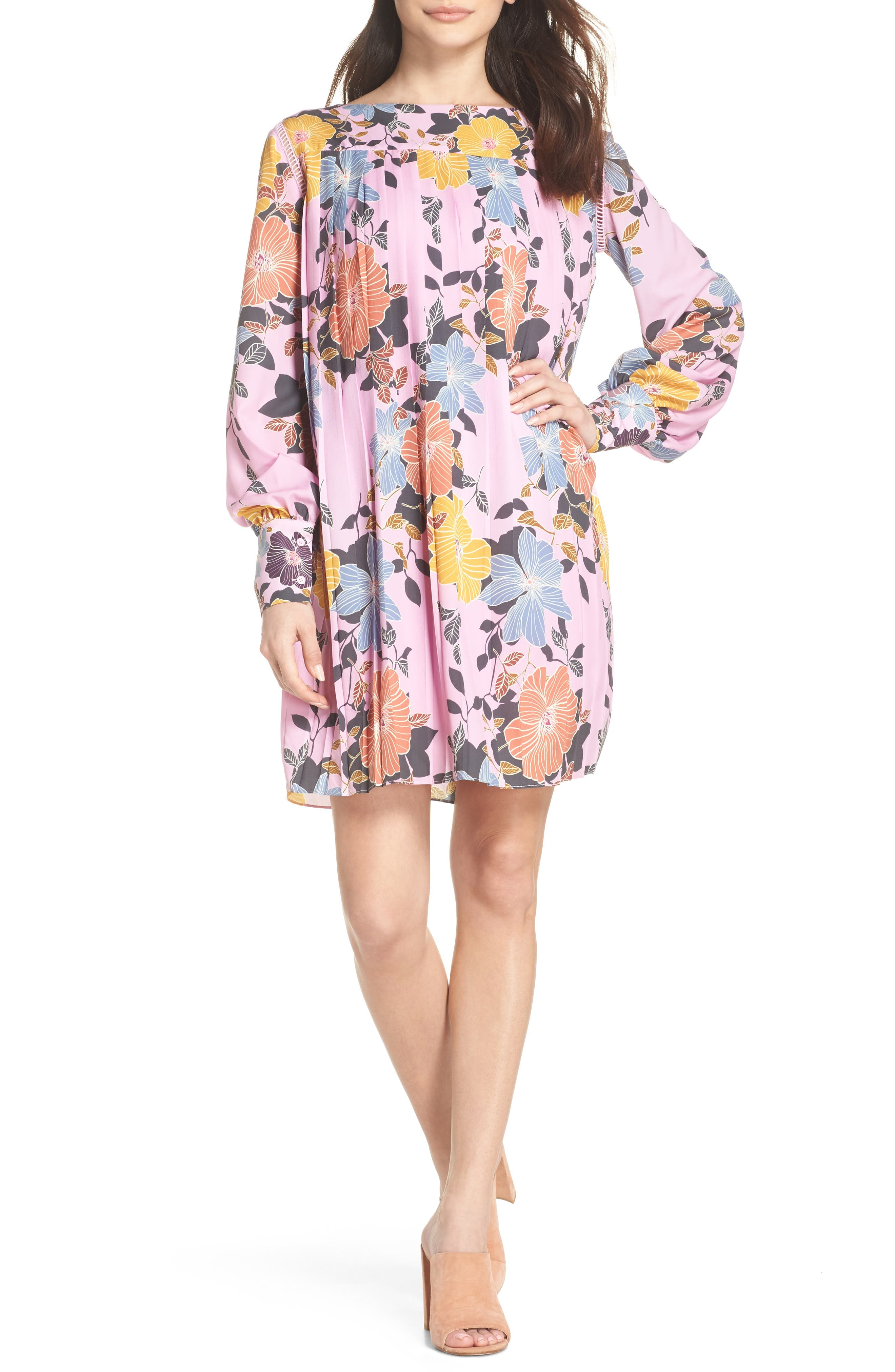Shikoku Floral Crepe Shift Dress,                             Alternate thumbnail 5, color,                             530