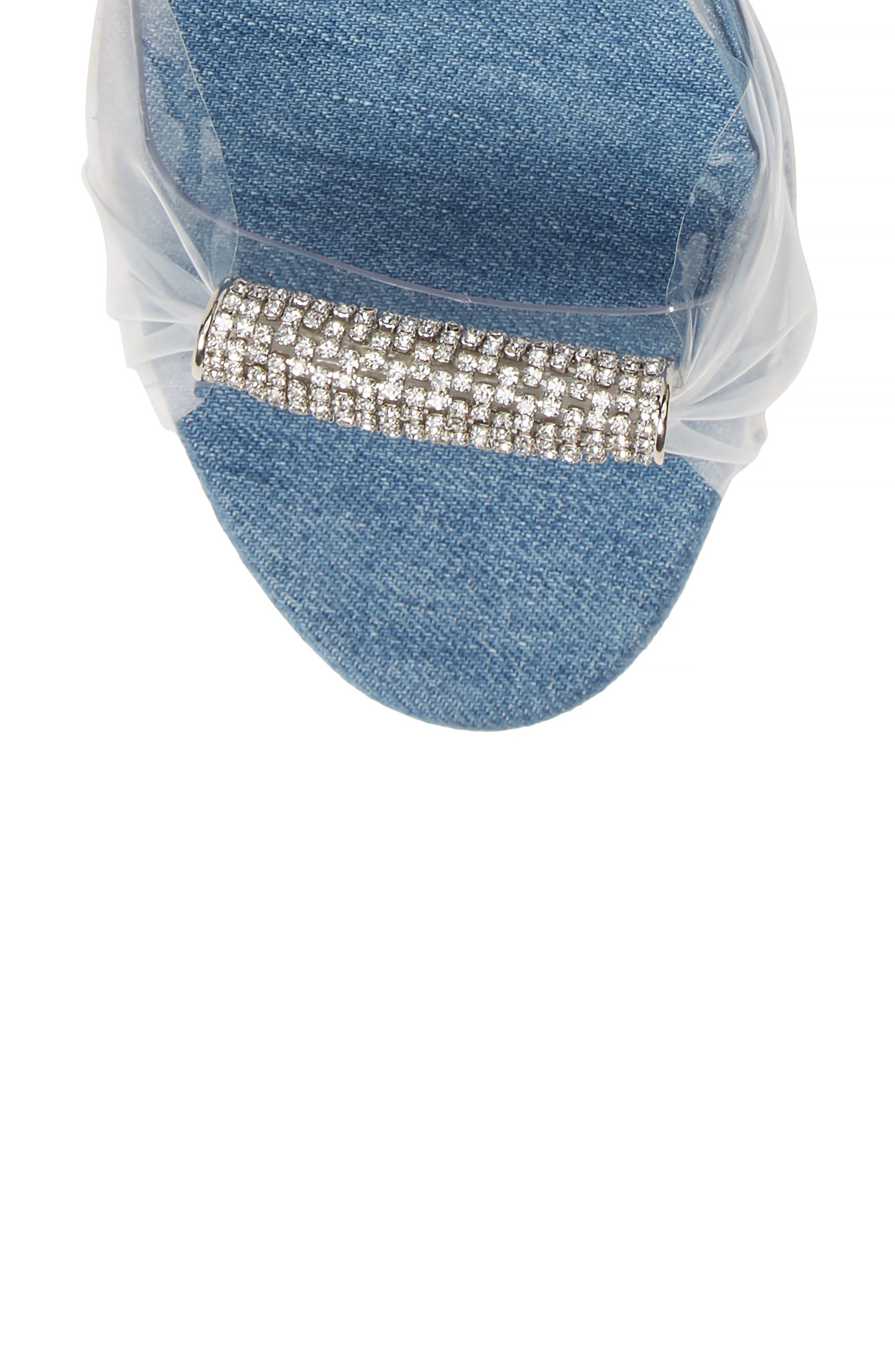 Crystal Embellished Sandal,                             Alternate thumbnail 5, color,                             DENIM/ TRANSPARENT