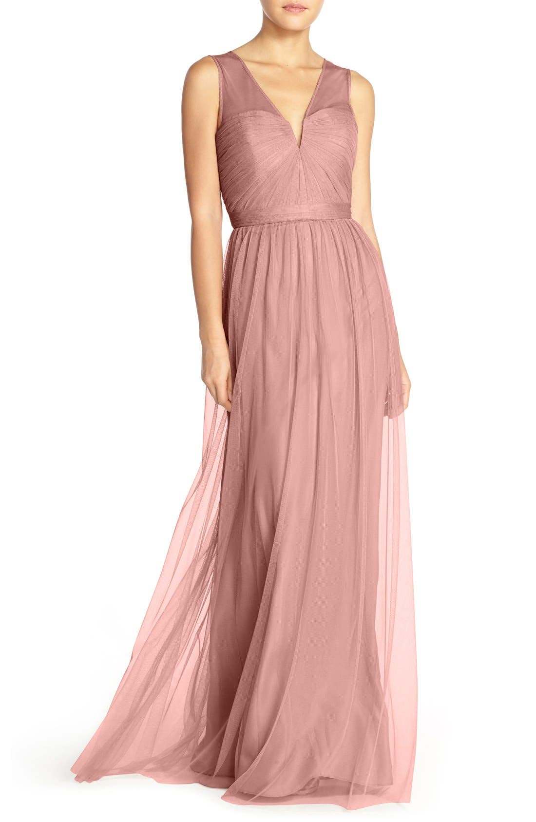 'Alyce' Illusion V-Neck Pleat Tulle Gown,                             Main thumbnail 3, color,