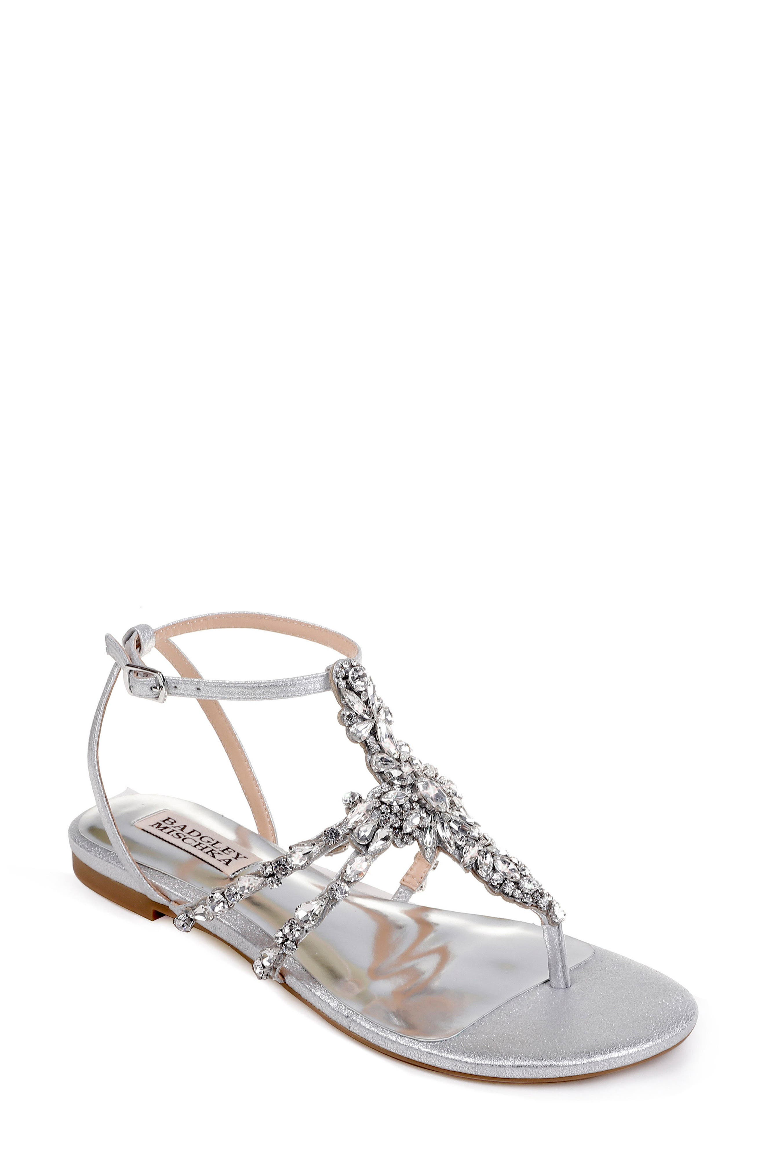 Badgley Mischka Hampden Crystal Embellished Sandal- Metallic