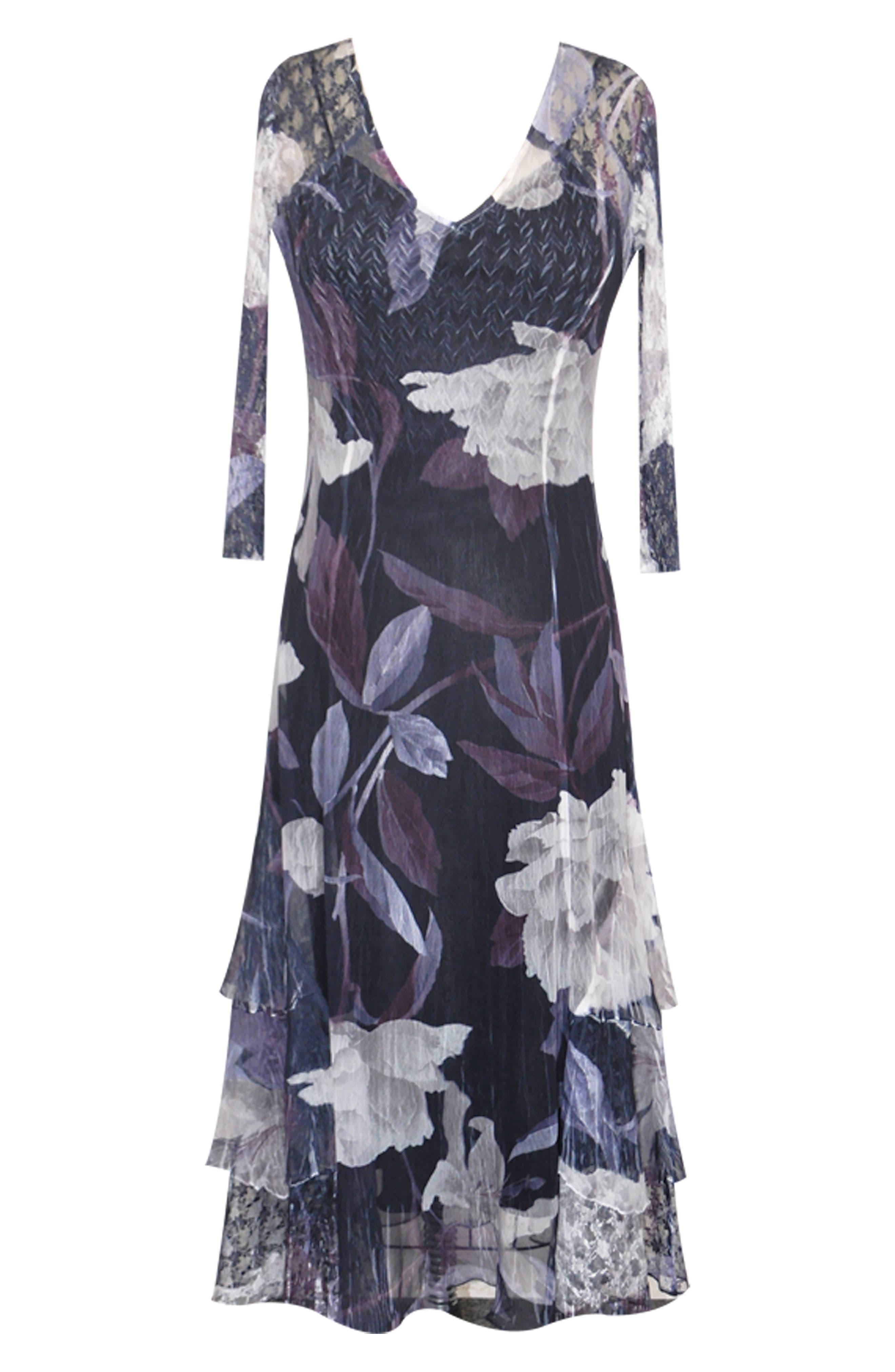 Floral Tiered Hem Dress,                             Alternate thumbnail 4, color,                             VIOLET VINE
