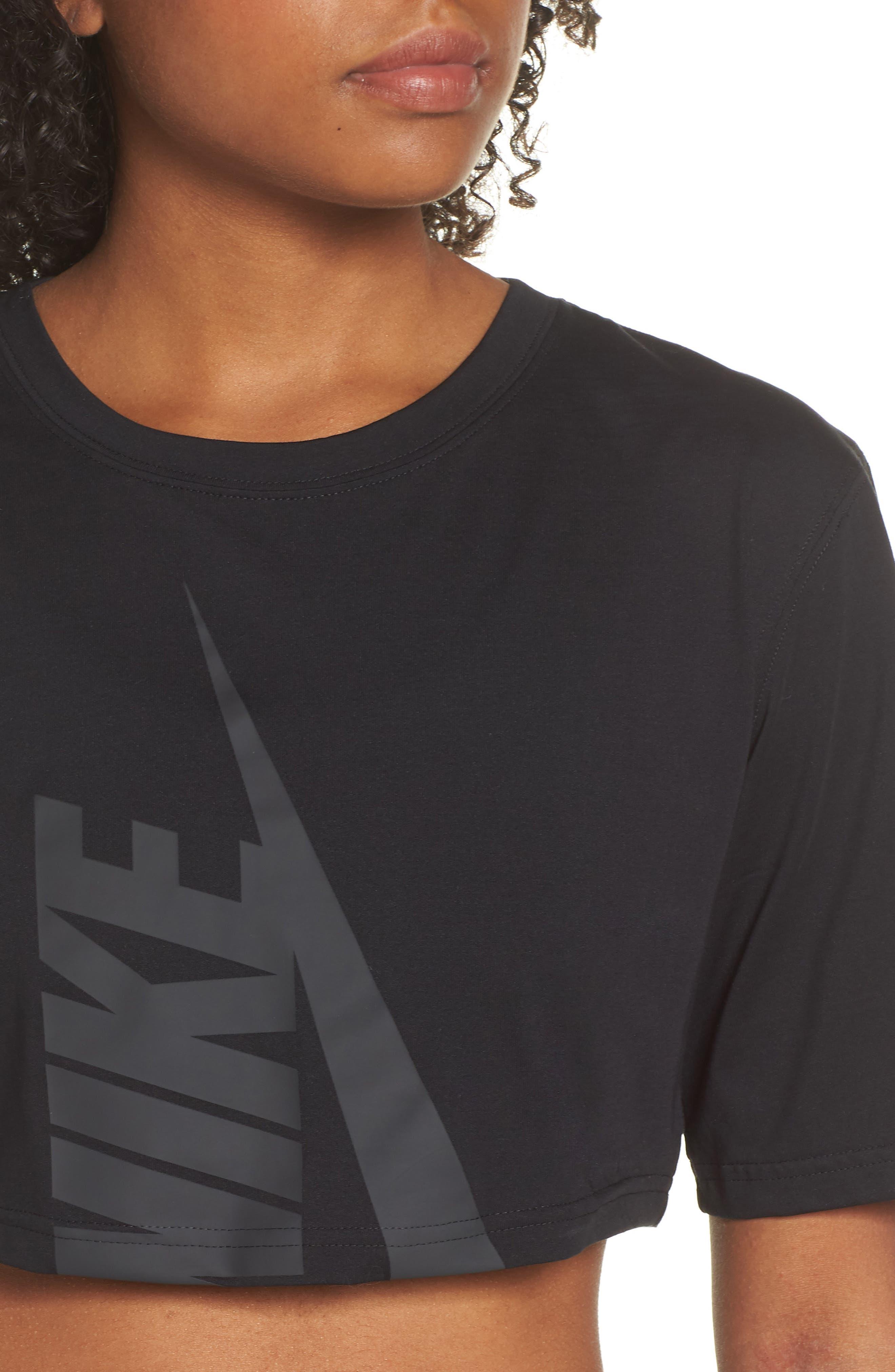 NikeLab Collection Jersey Crop Top,                             Alternate thumbnail 4, color,                             BLACK/ BLACK