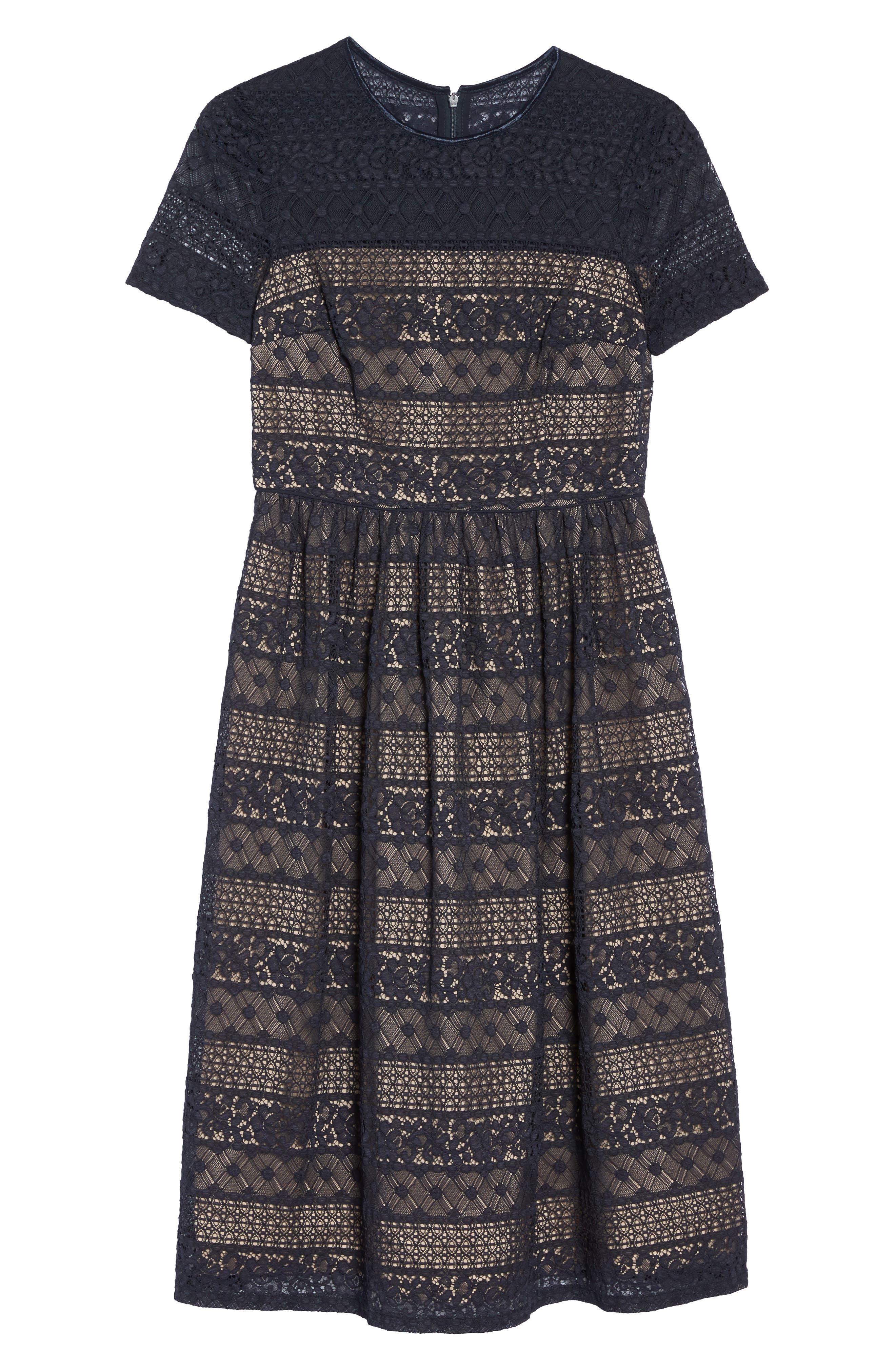 Lace Midi Dress,                             Alternate thumbnail 6, color,                             402
