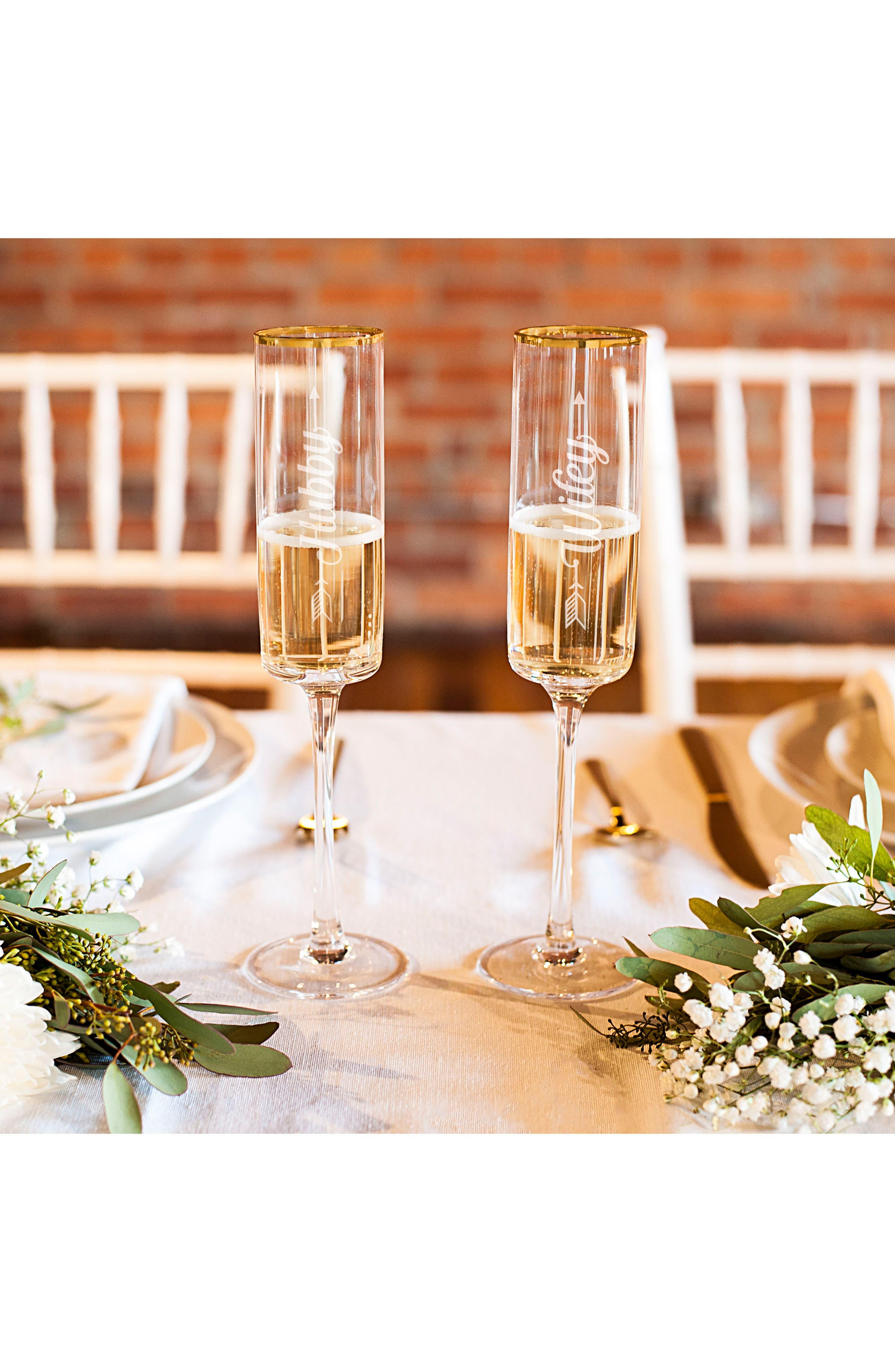 Hubby/Wifey Set of 2 Champagne Flutes,                             Alternate thumbnail 6, color,                             710
