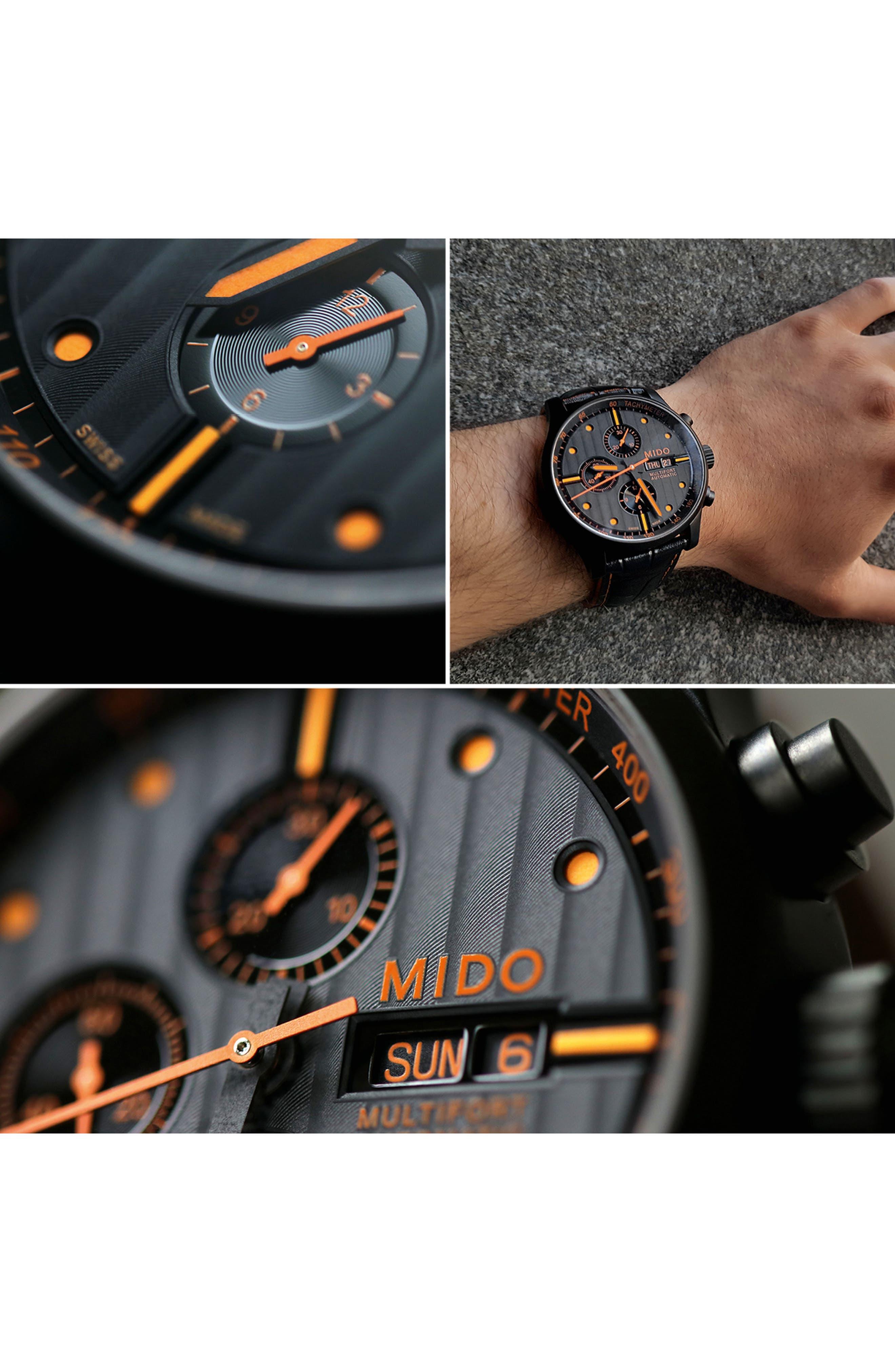 Multifort Automatic Chronograph Leather Strap Watch, 44mm,                             Alternate thumbnail 5, color,                             BLACK/ ORANGE
