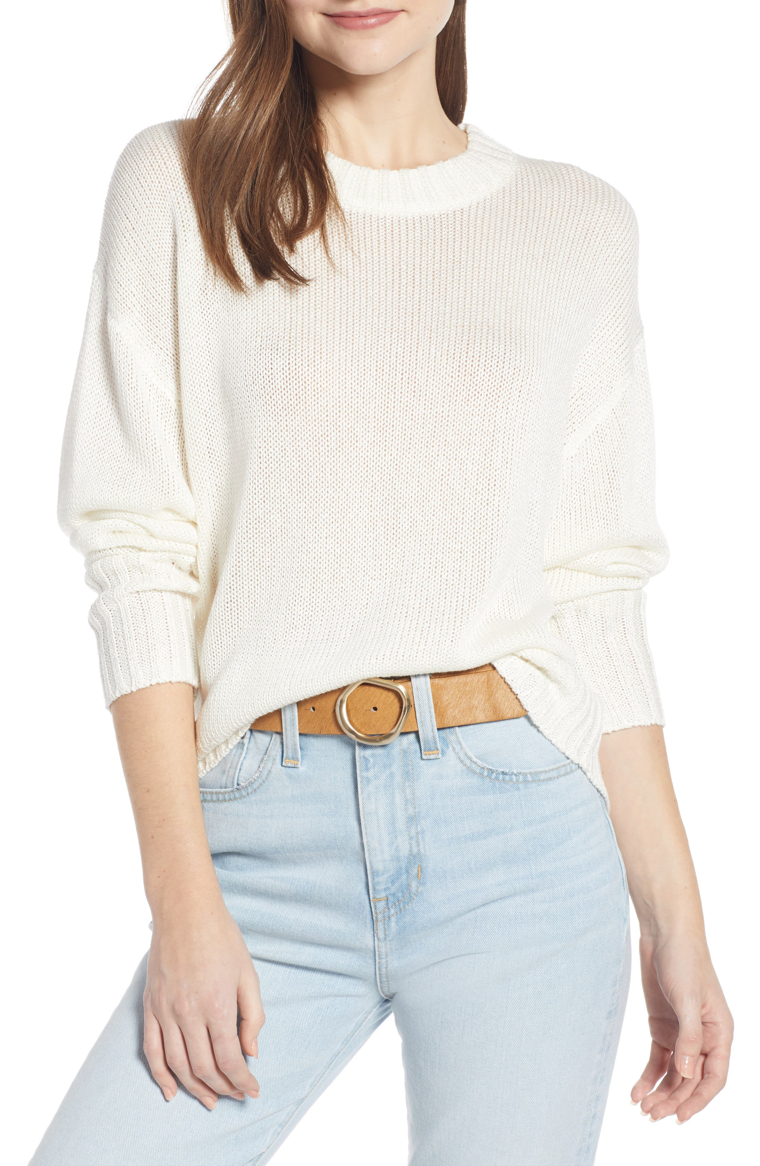 SOMETHING NAVY Subtle Sheen Sweater, Main, color, 100