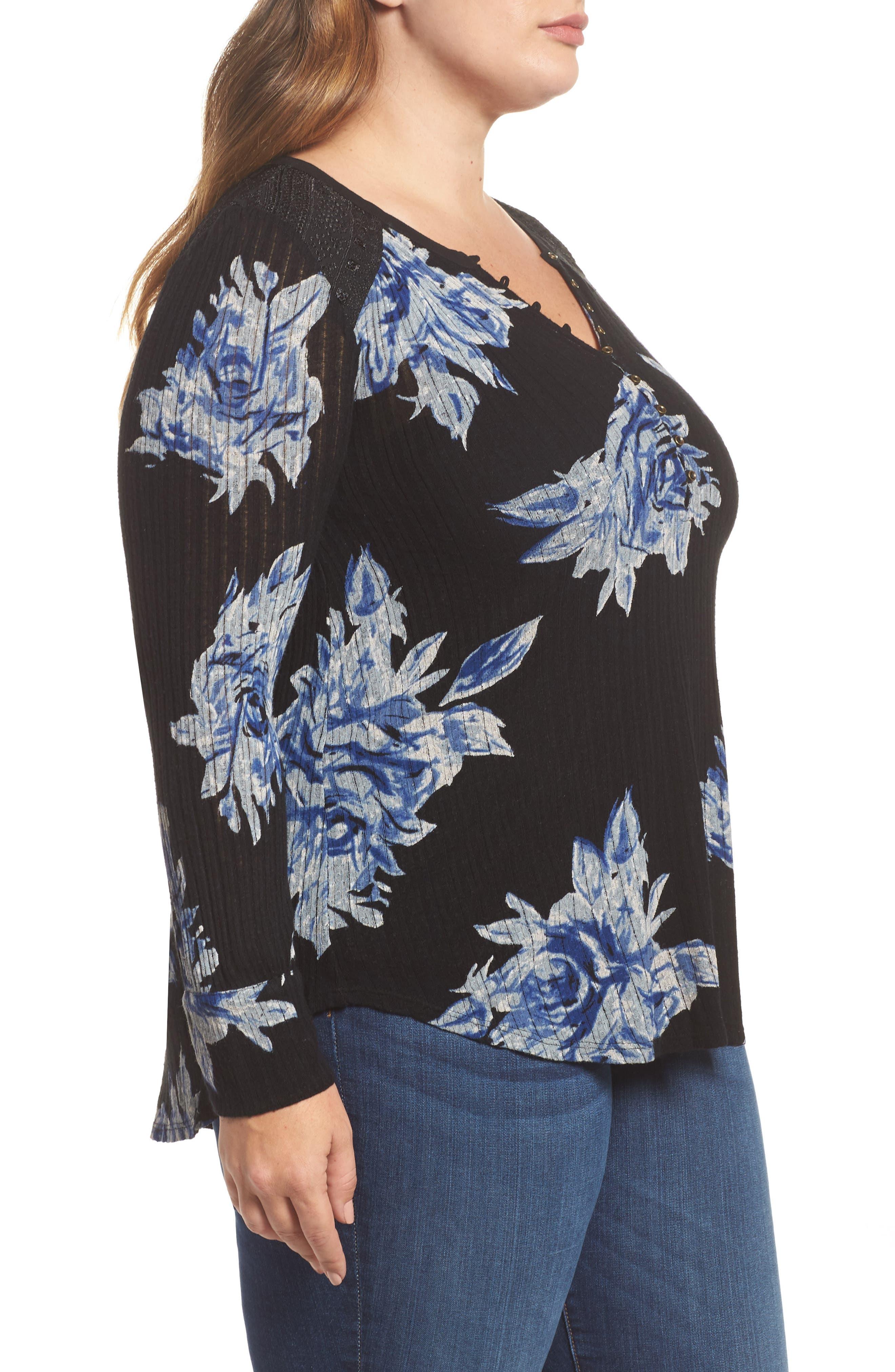 Floral Print Drop Needle Knit Shirt,                             Alternate thumbnail 3, color,