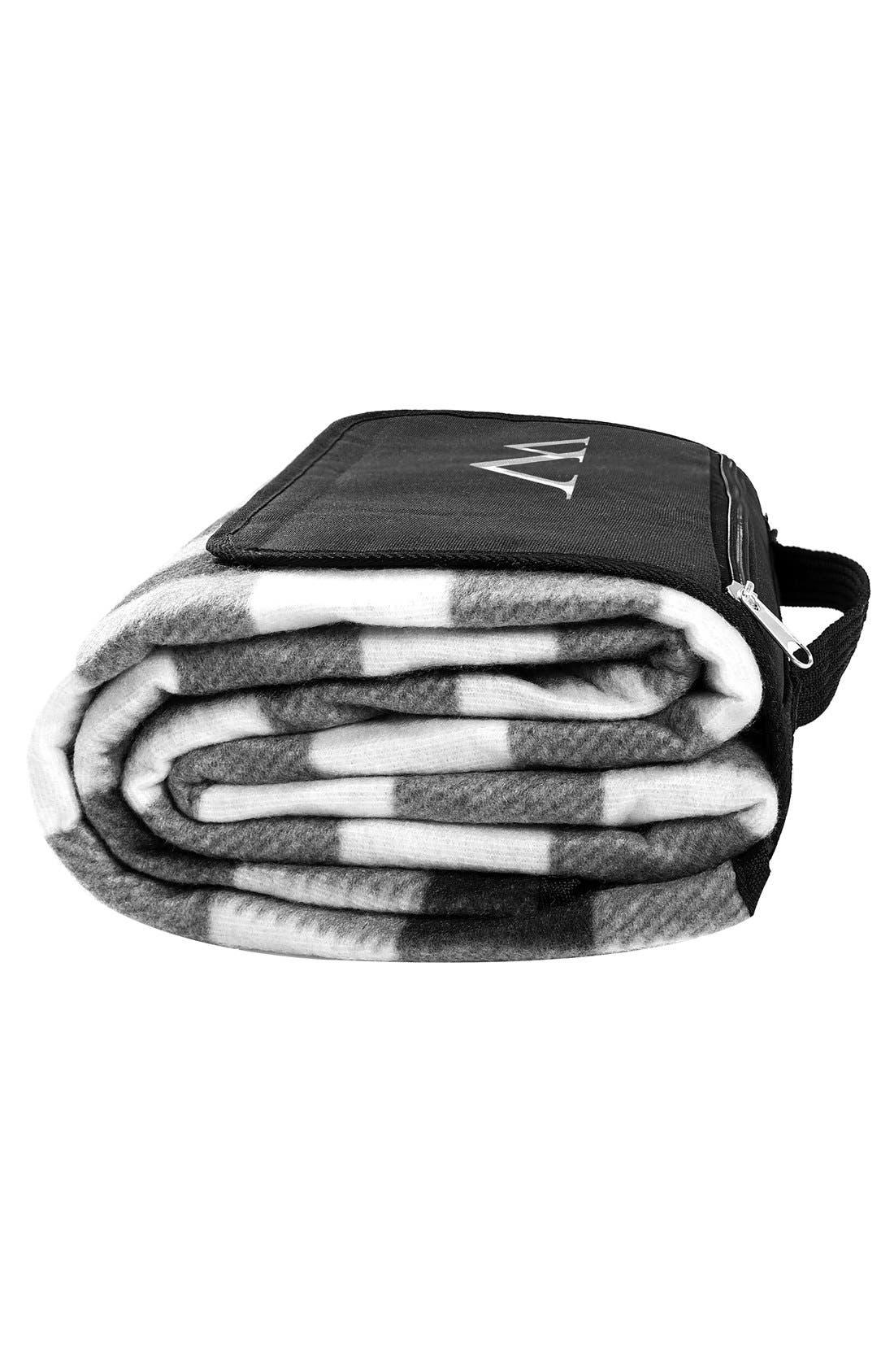 Monogram Plaid Fold-Up Picnic Blanket,                             Alternate thumbnail 3, color,                             018