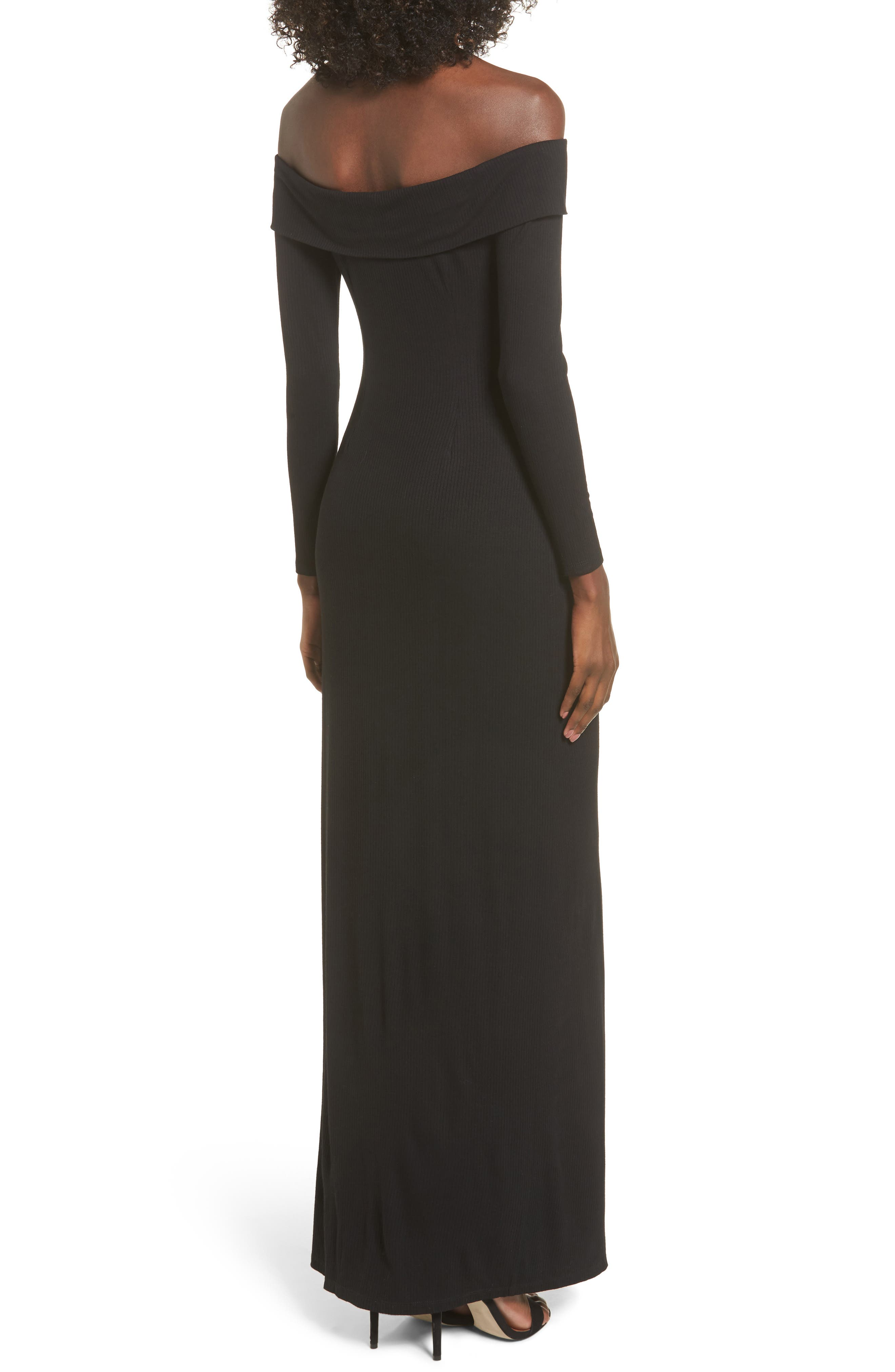 Royale Off the Shoulder Maxi Dress,                             Alternate thumbnail 2, color,                             001