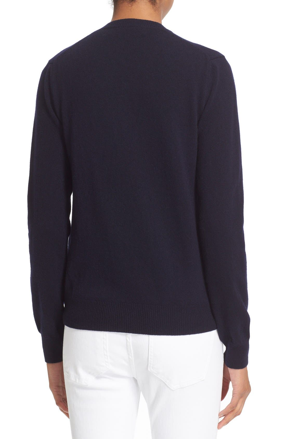 Comme des Garçons 'Play' Wool V-Neck Pullover,                             Alternate thumbnail 2, color,                             NAVY