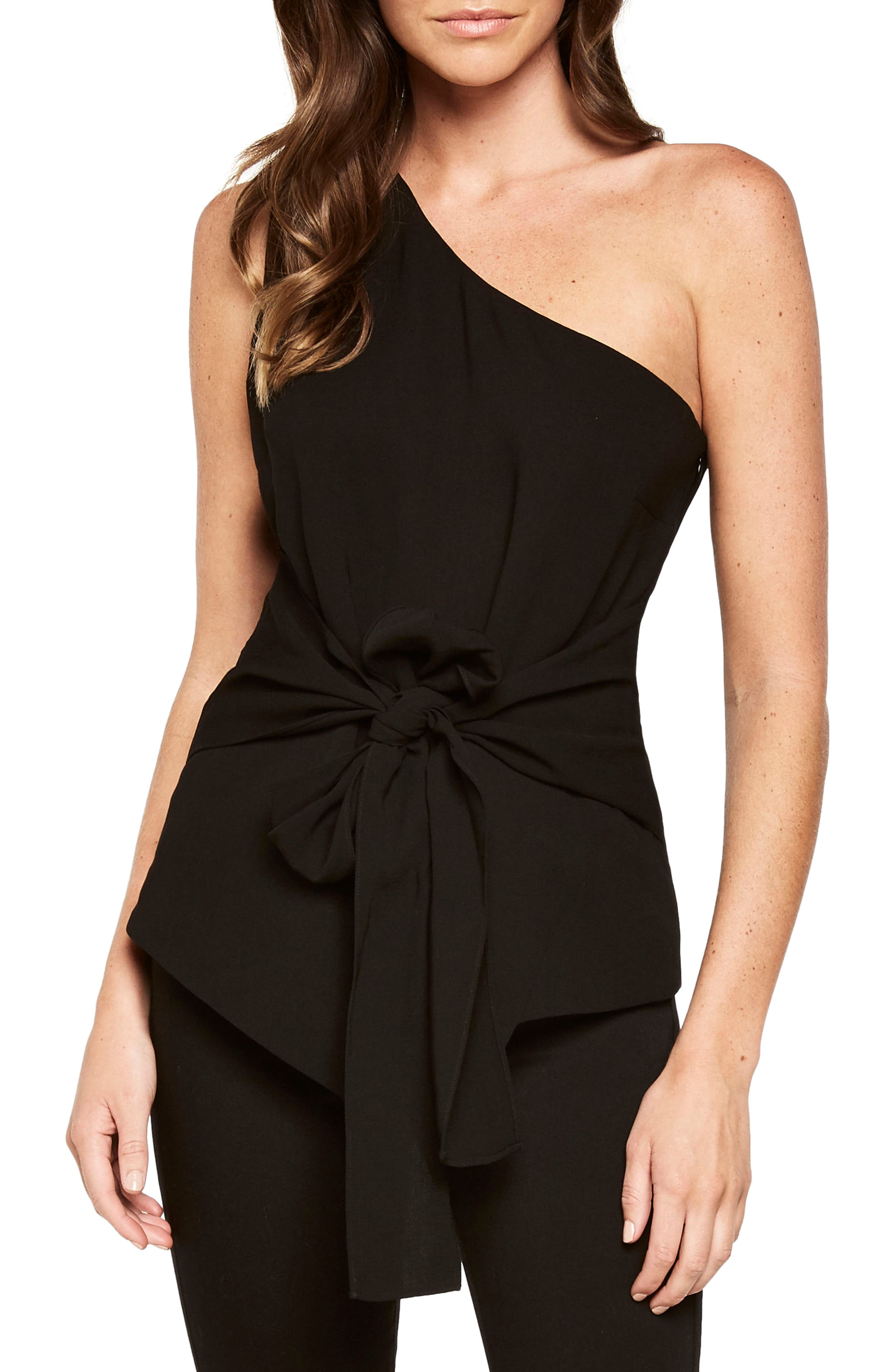 Bow Sash One-Shoulder Top,                         Main,                         color, 001