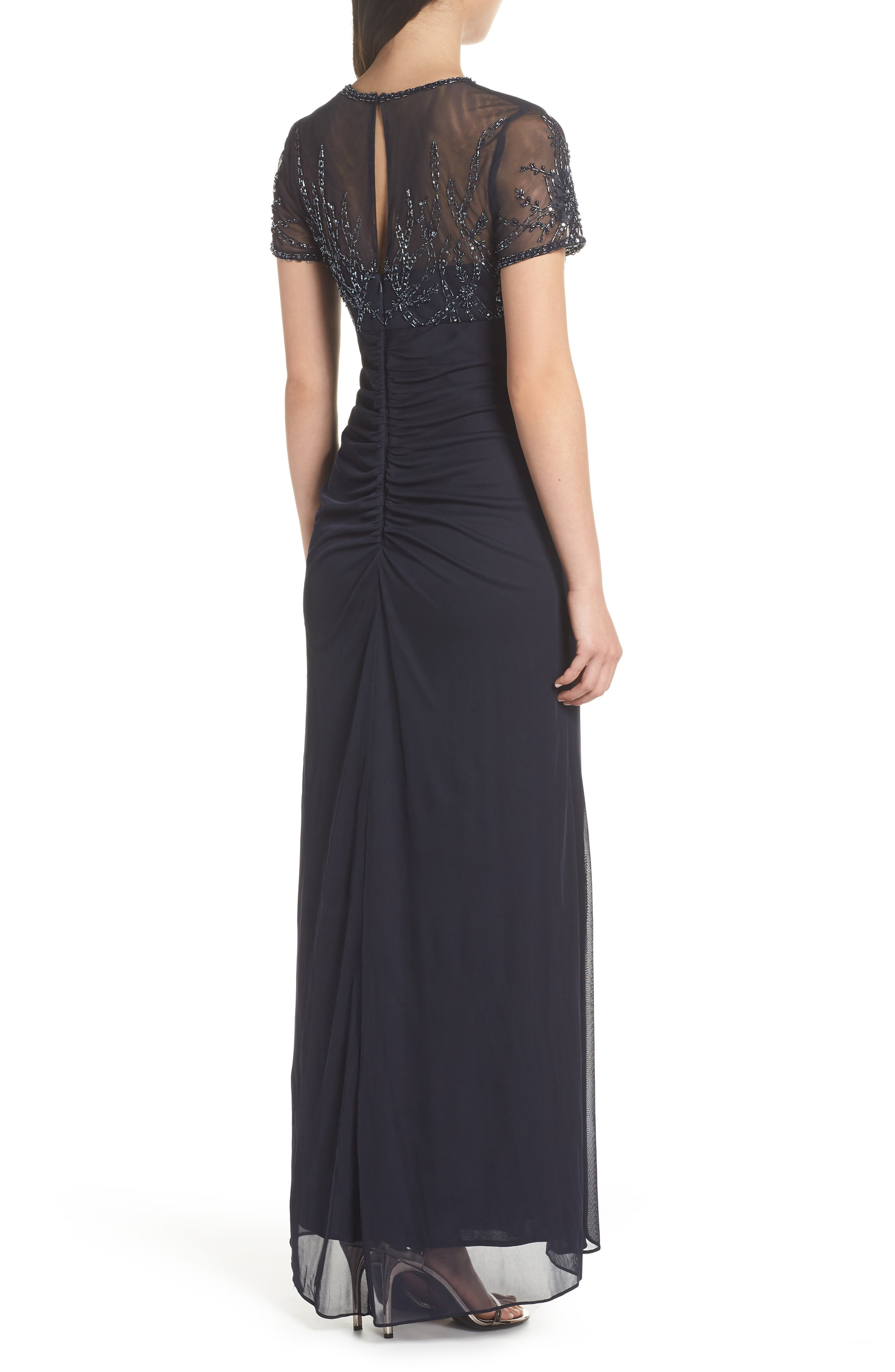 Side Ruched Beaded Gown,                             Alternate thumbnail 2, color,                             NAVY