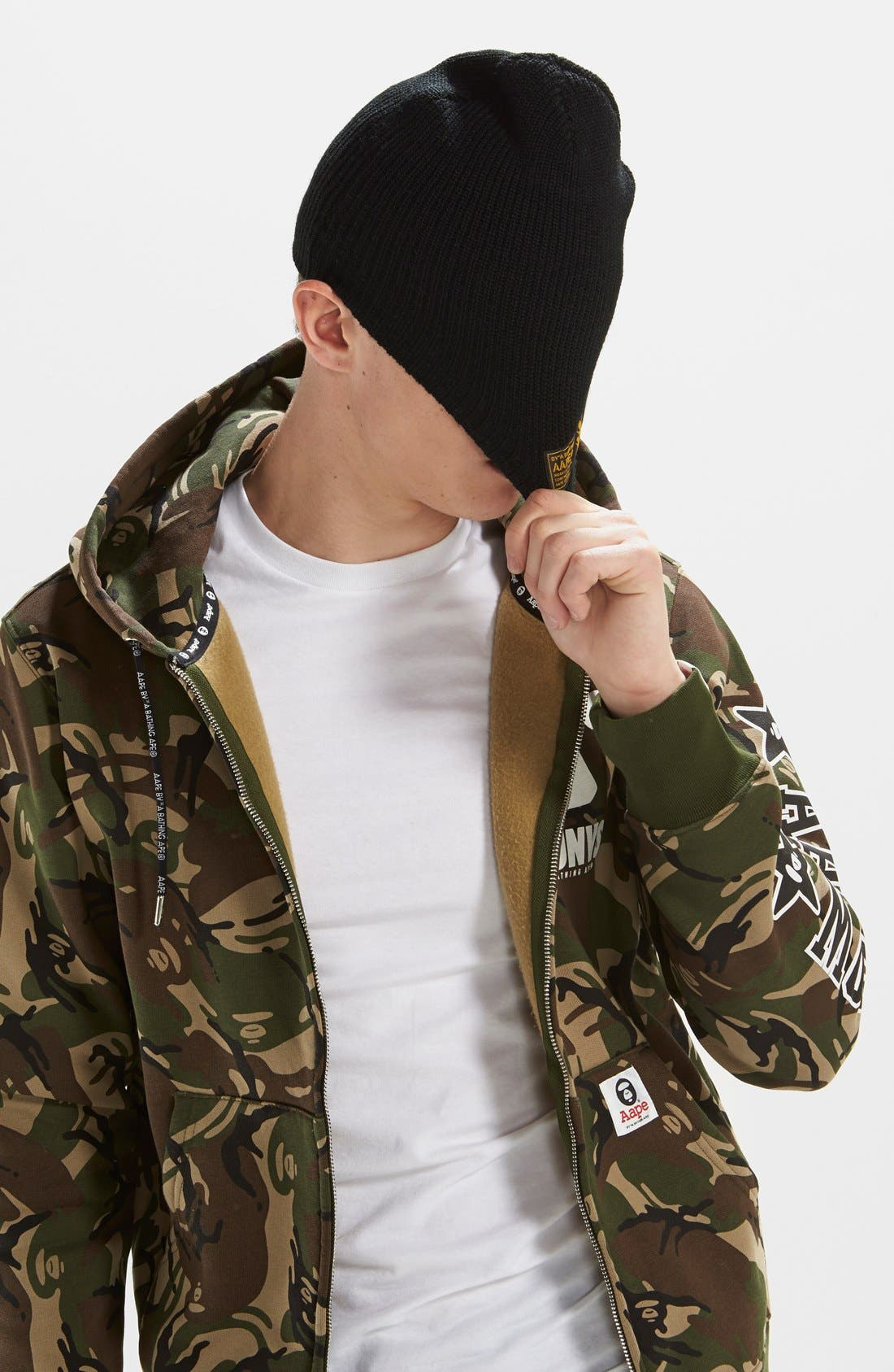 AAPE BY A BATHING APE<SUP>®</SUP>,                             Camo Full Zip Hoodie,                             Alternate thumbnail 3, color,                             340