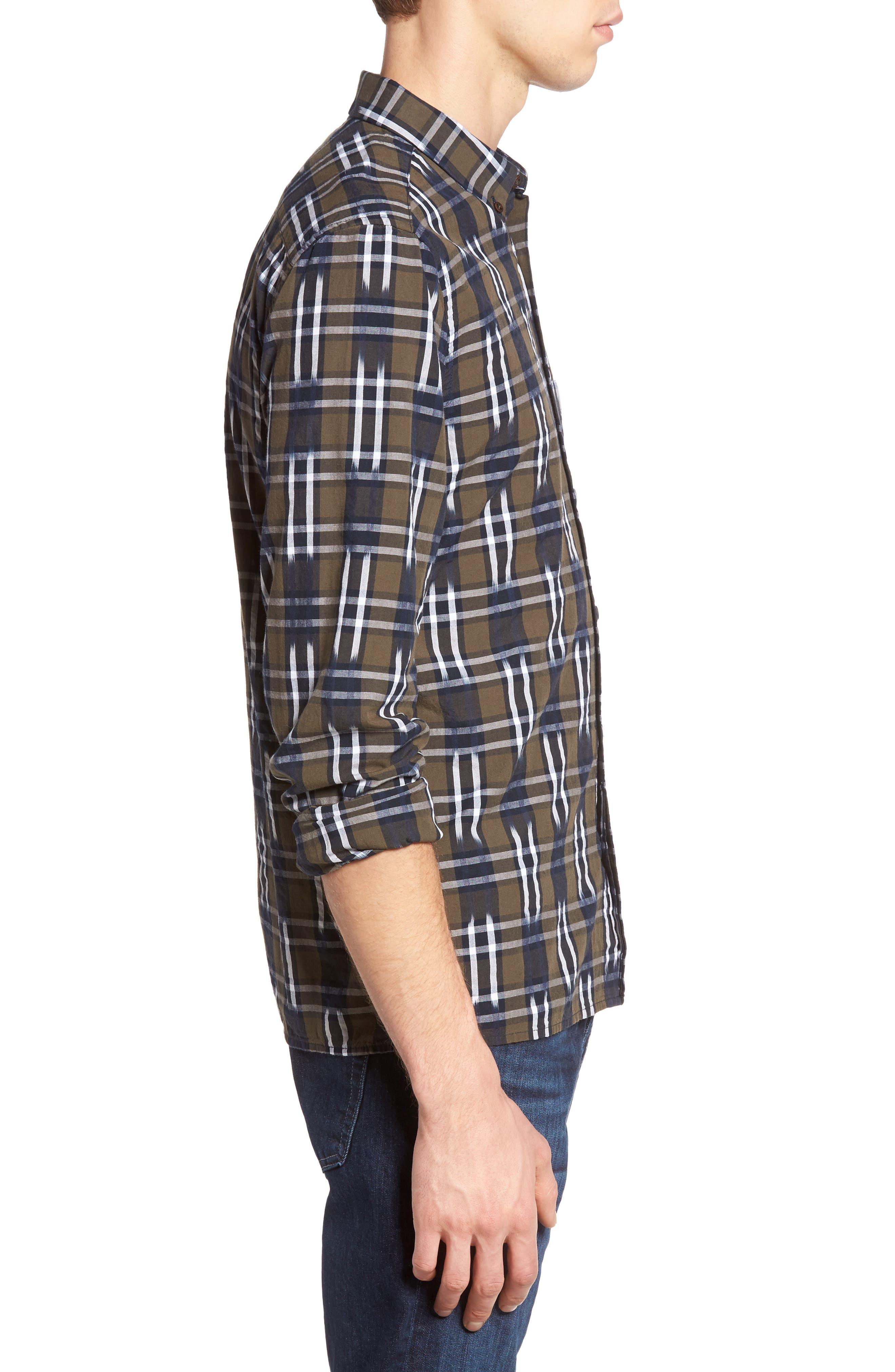 Slim Fit Ikat Check Sport Shirt,                             Alternate thumbnail 3, color,                             250
