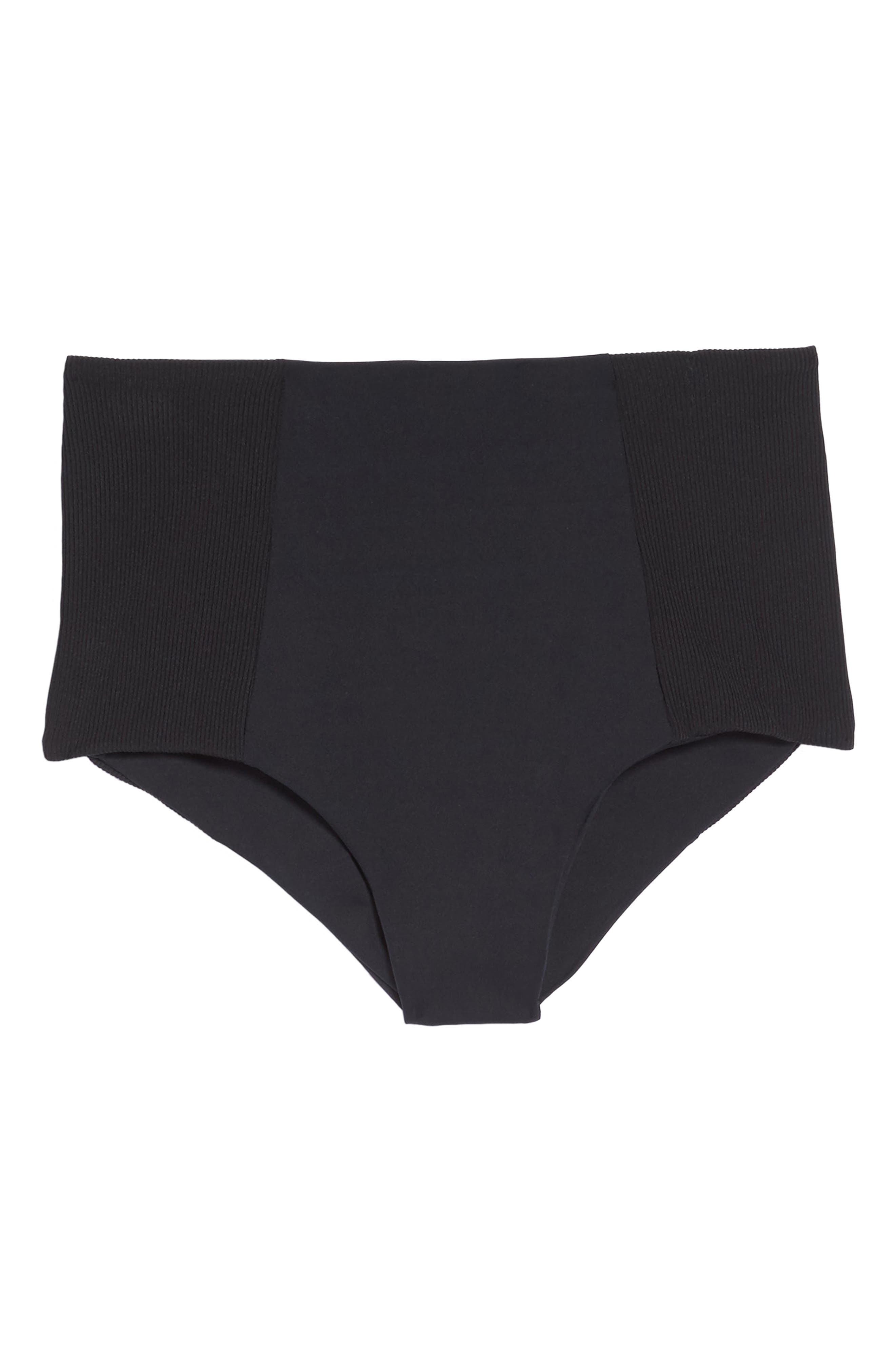 Jackie High Waist Bikini Bottoms,                             Alternate thumbnail 6, color,                             BLACK