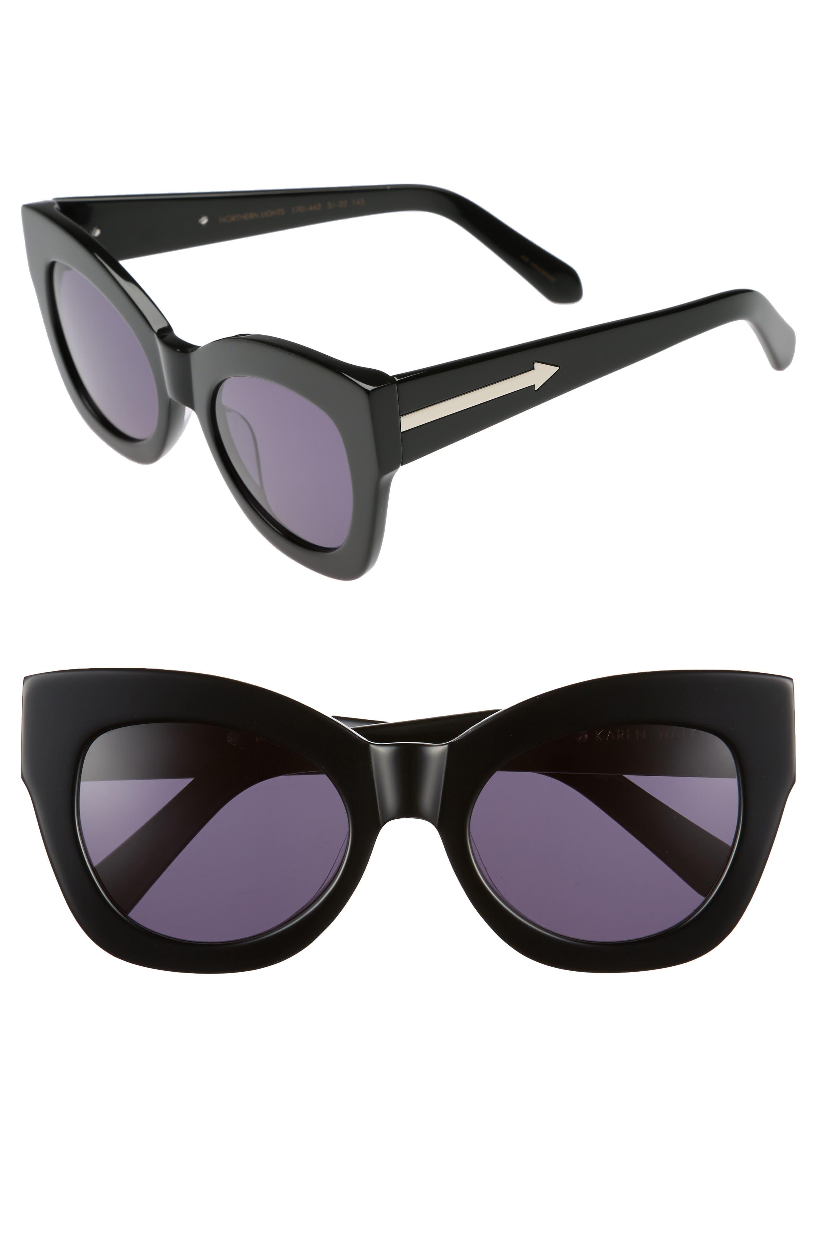 Northern Lights V2 51mm Cat Eye Sunglasses,                         Main,                         color, 001