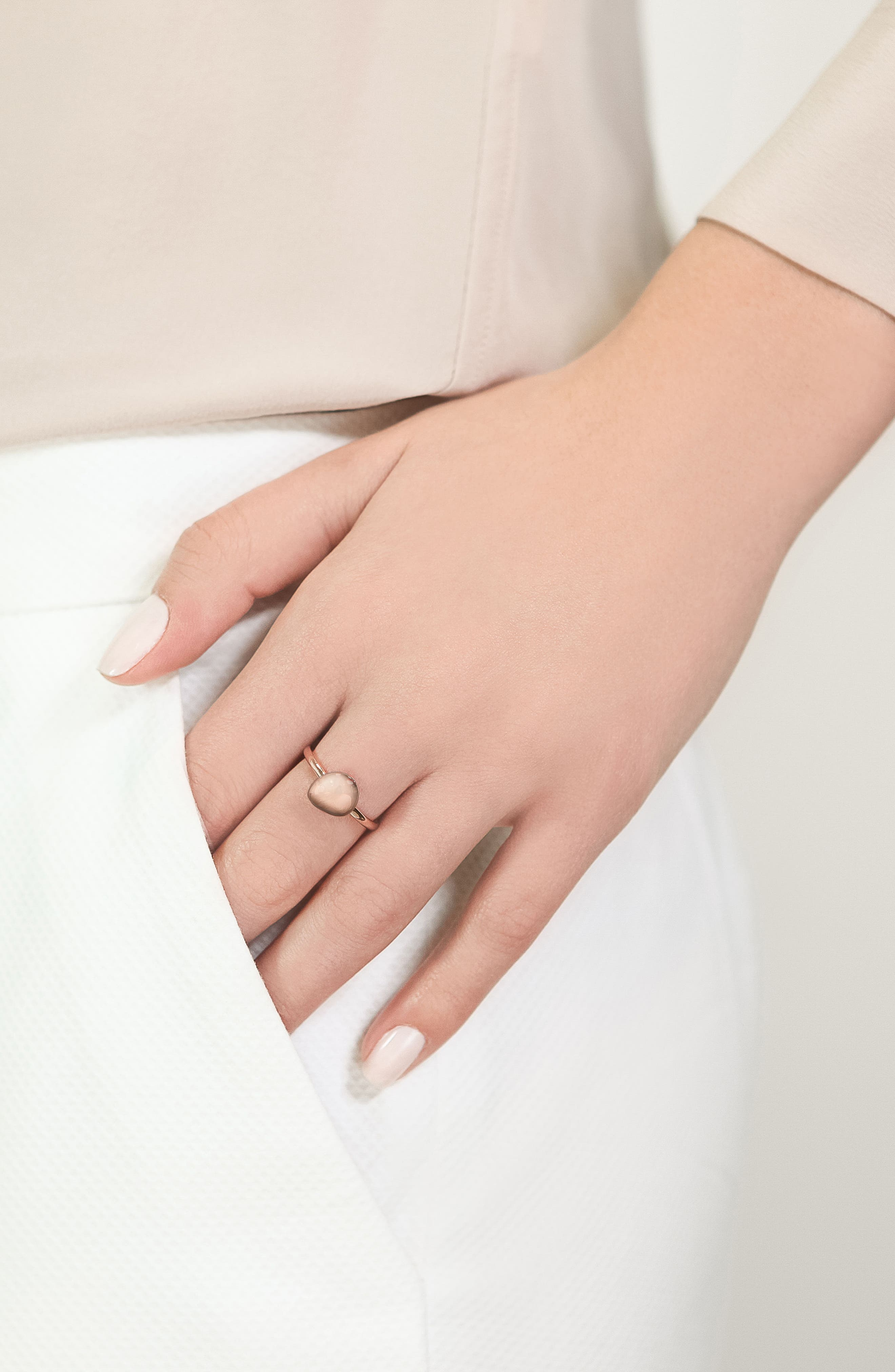 Nura Small Pebble Stacking Ring,                             Alternate thumbnail 3, color,                             ROSE GOLD
