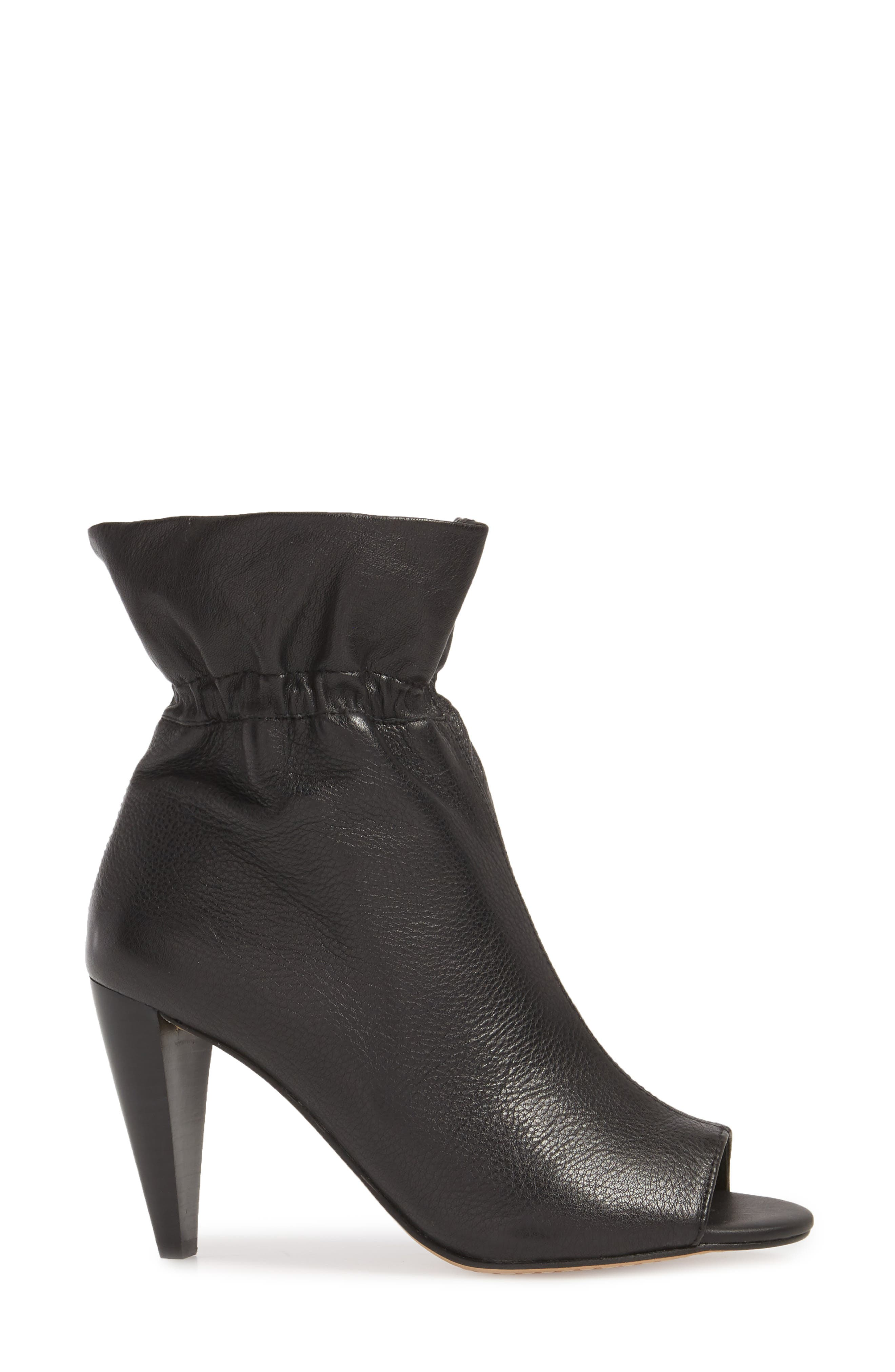 Addiena Bootie,                             Alternate thumbnail 3, color,                             BLACK LEATHER