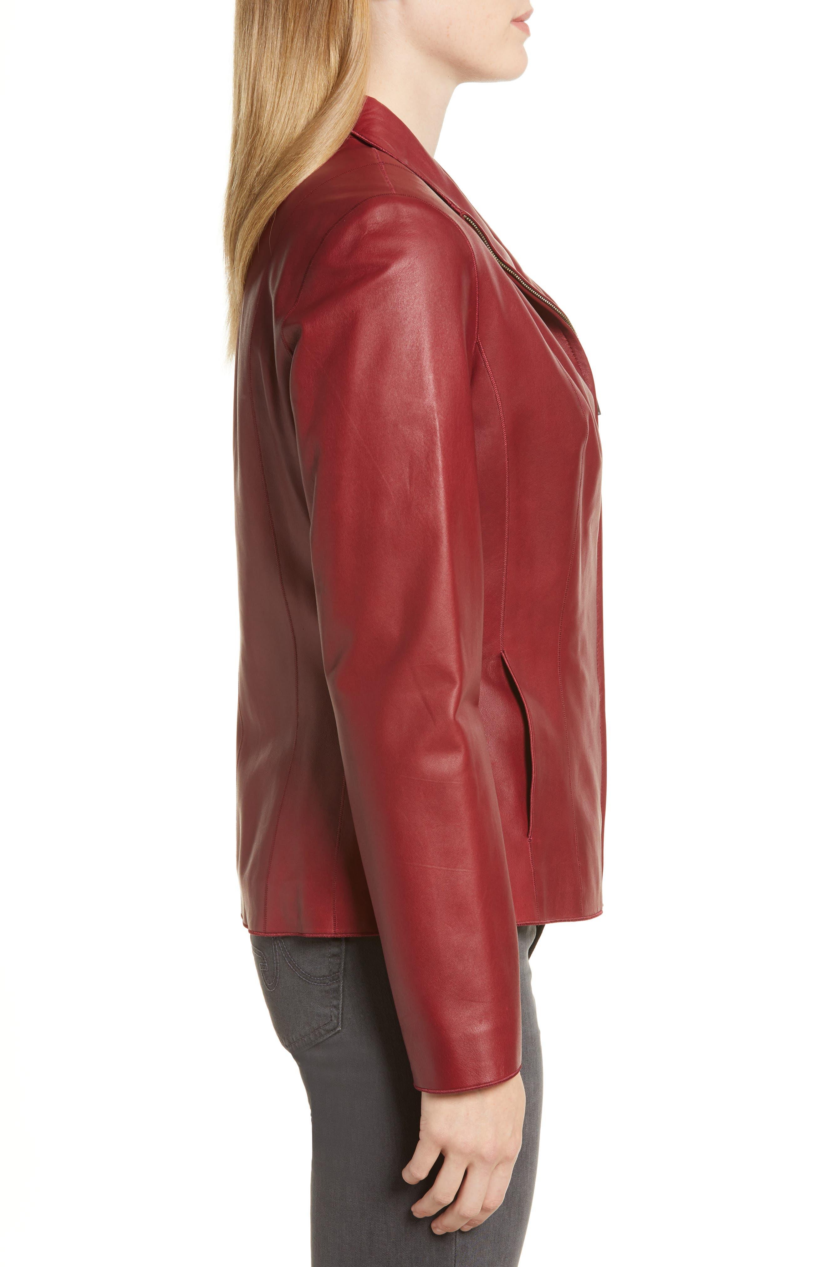 Lambskin Leather Scuba Jacket,                             Alternate thumbnail 3, color,                             RED