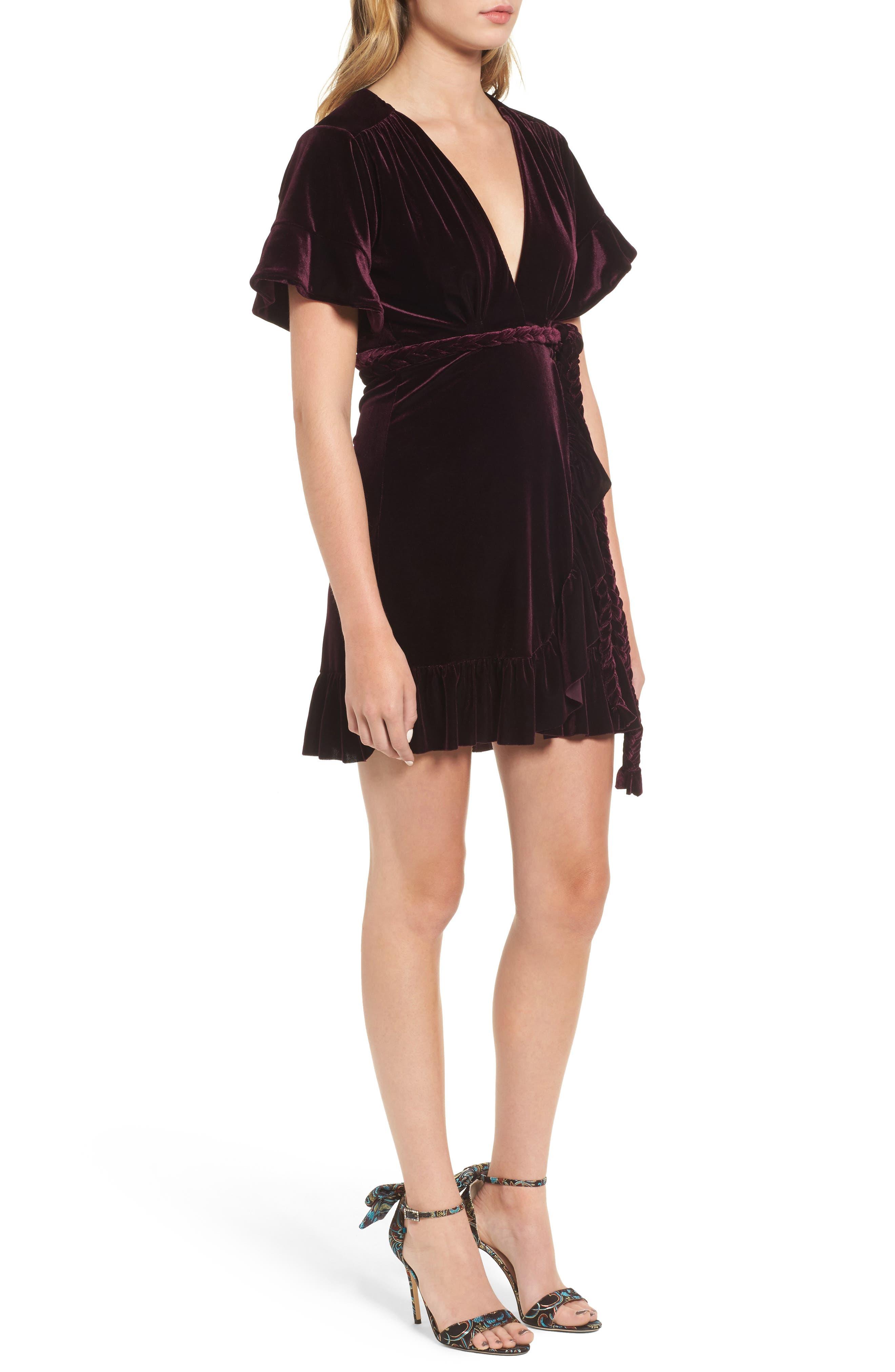 Desma Velvet Wrap Dress,                             Alternate thumbnail 3, color,                             505